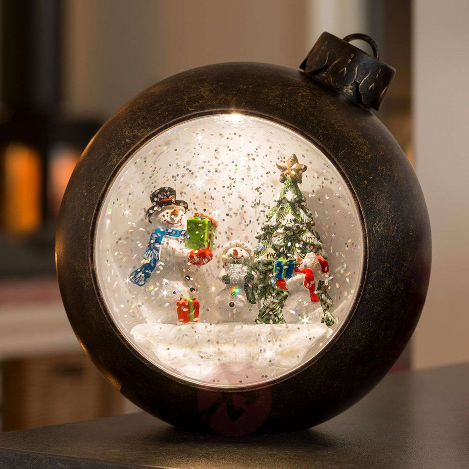 Brown LED globe Snowmen, water-filled-5524864-01