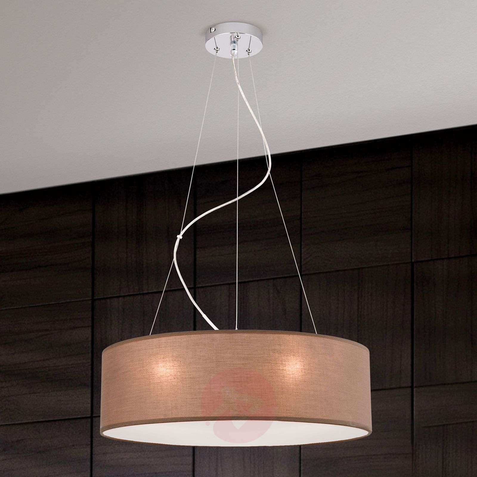 Brown pendant light Ufo with a linen lampshade-7255353-01