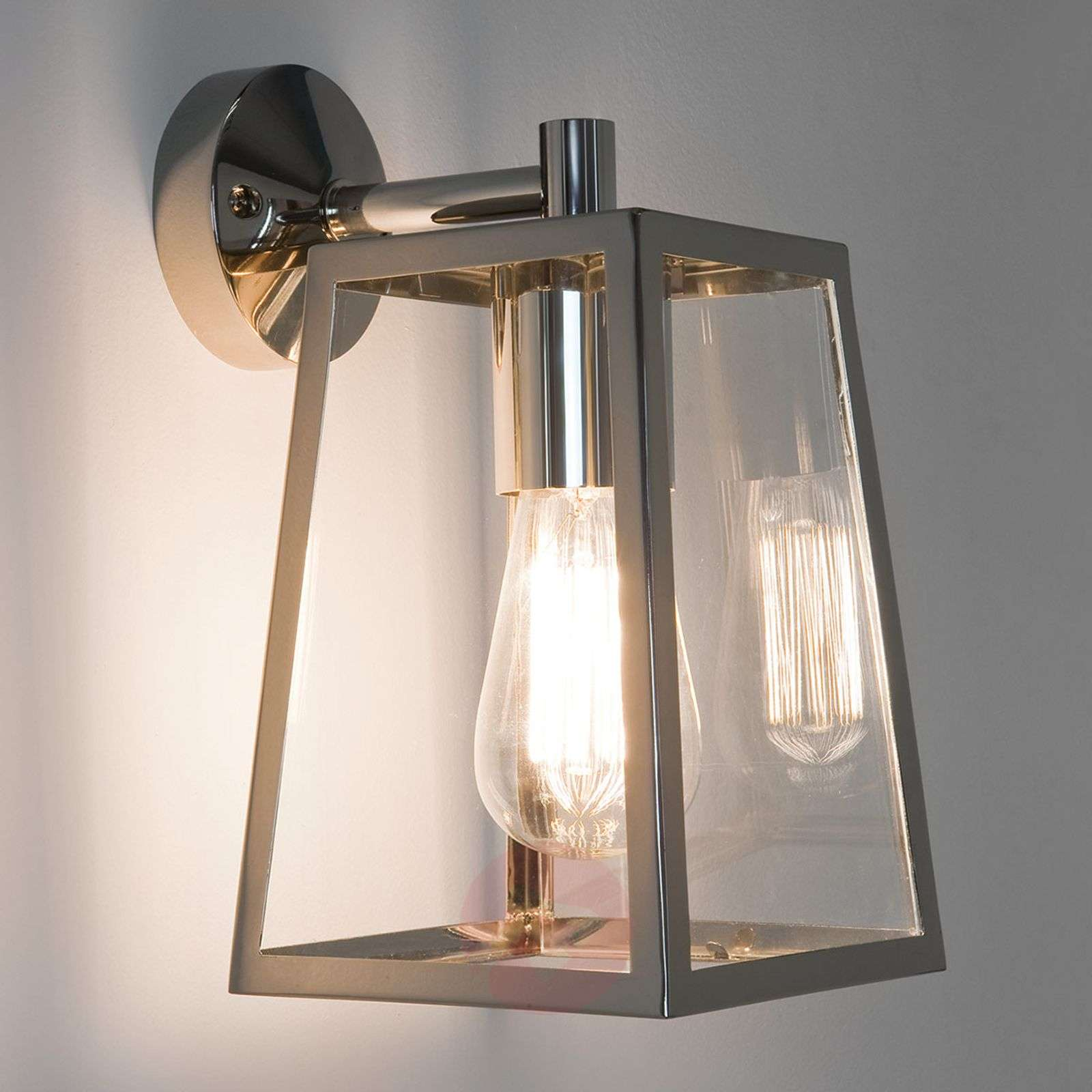 Calvi Outside Wall Light Lantern-Shaped Nickel-1020482-03