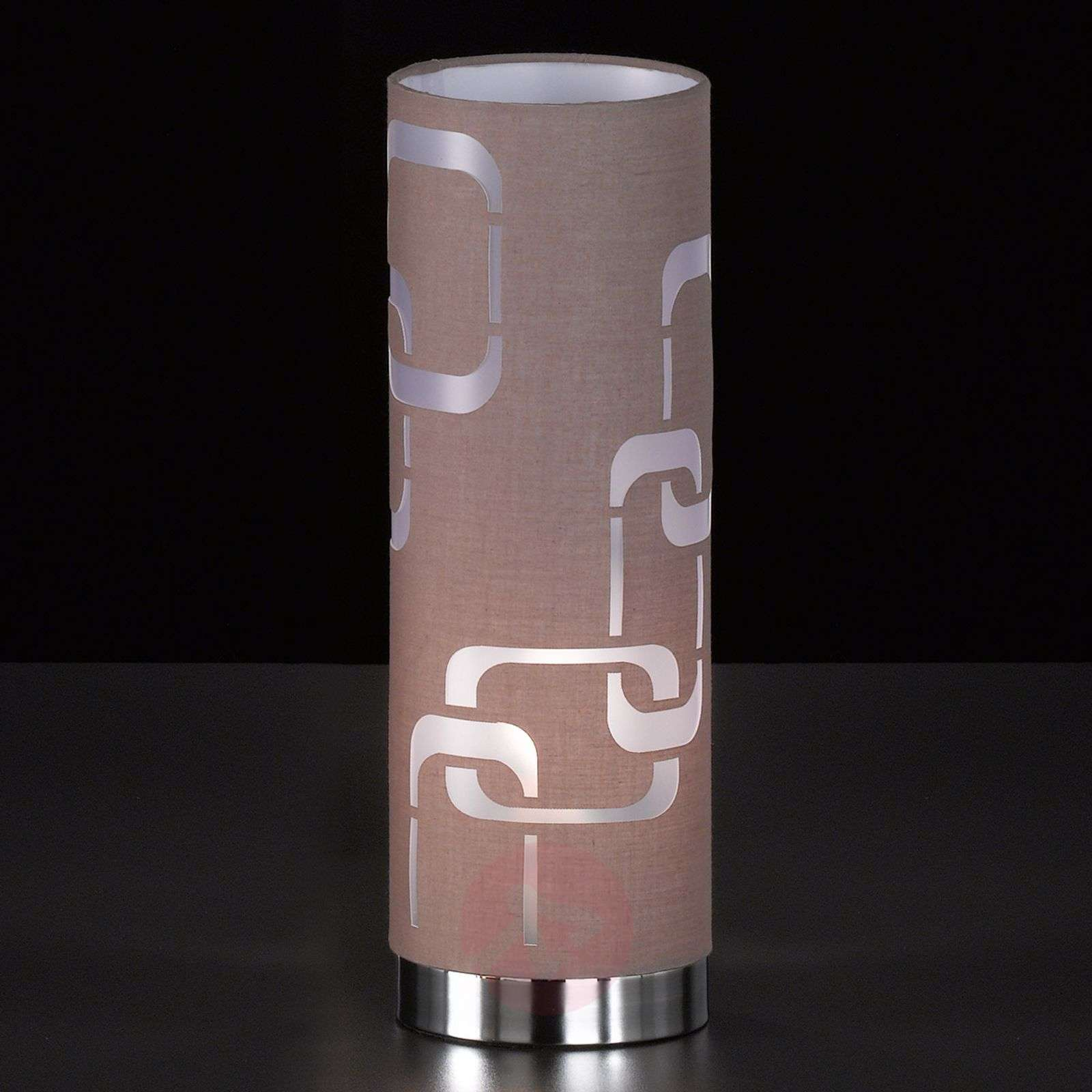 Cappuccino-coloured textile table lamp Seventies-4580934-01