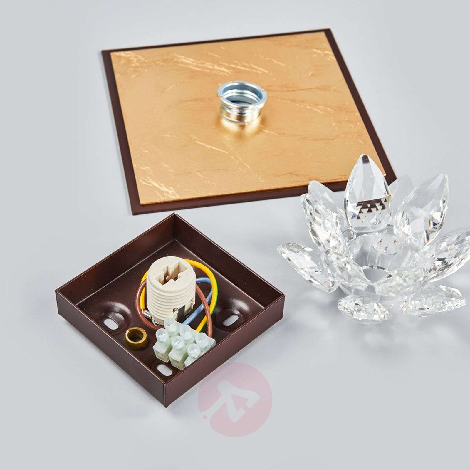 Ceiling light Fiore with gold leaf and crystal-5505542-01