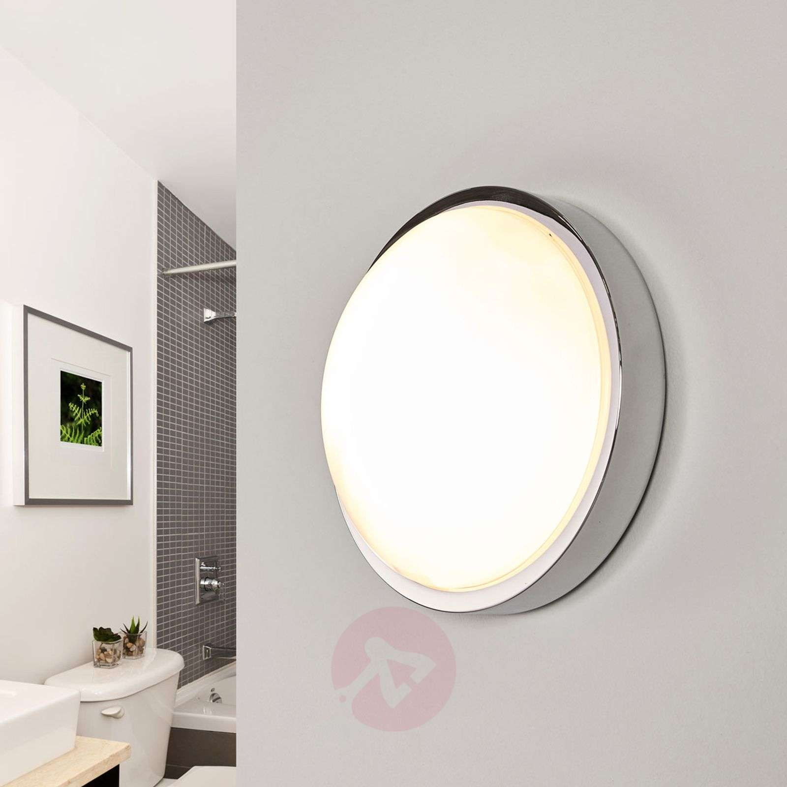 Chrome-plated bathroom ceiling lamp Elucio, IP44-9641093-08