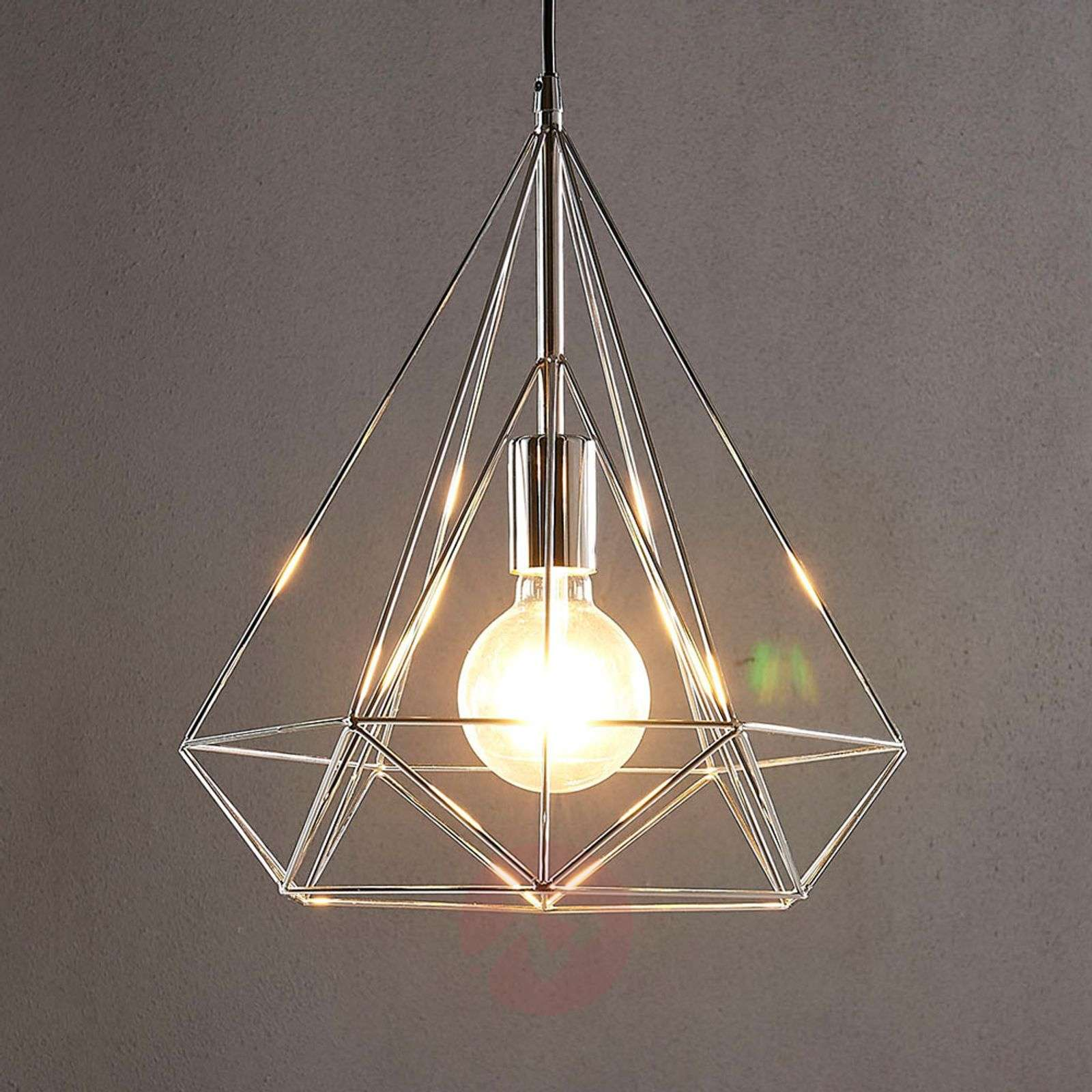 Chrome-plated pendant light Nael in cage shape-9621225-02