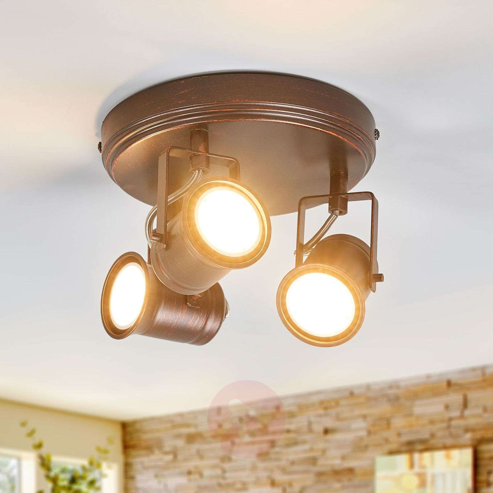Circular spotlight Cansu in brown-gold, GU10 LED-9639076-08