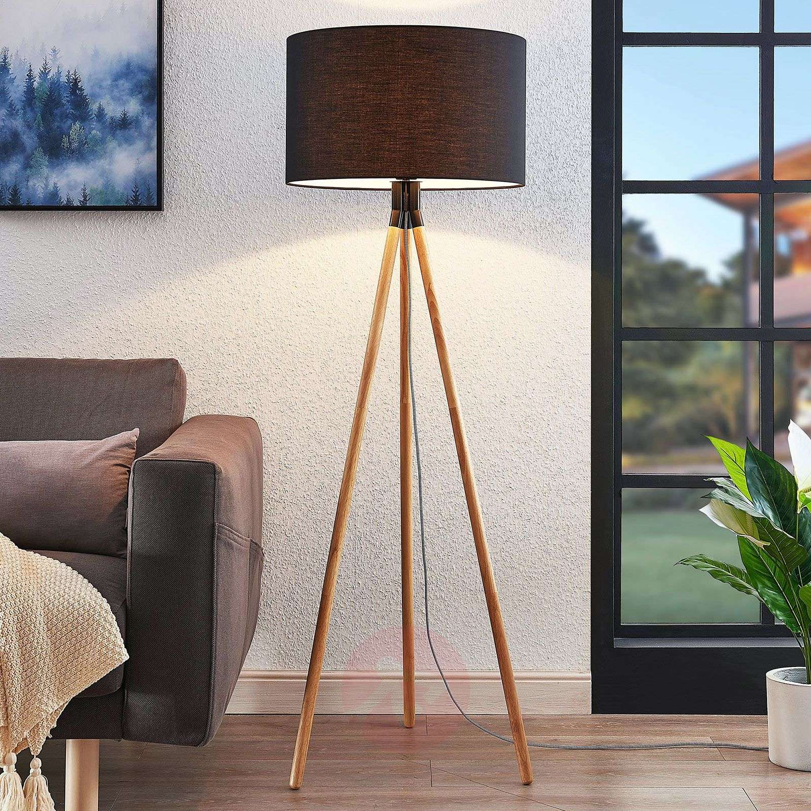 Claira tripod fabric floor lamp, round, black-9624420-01
