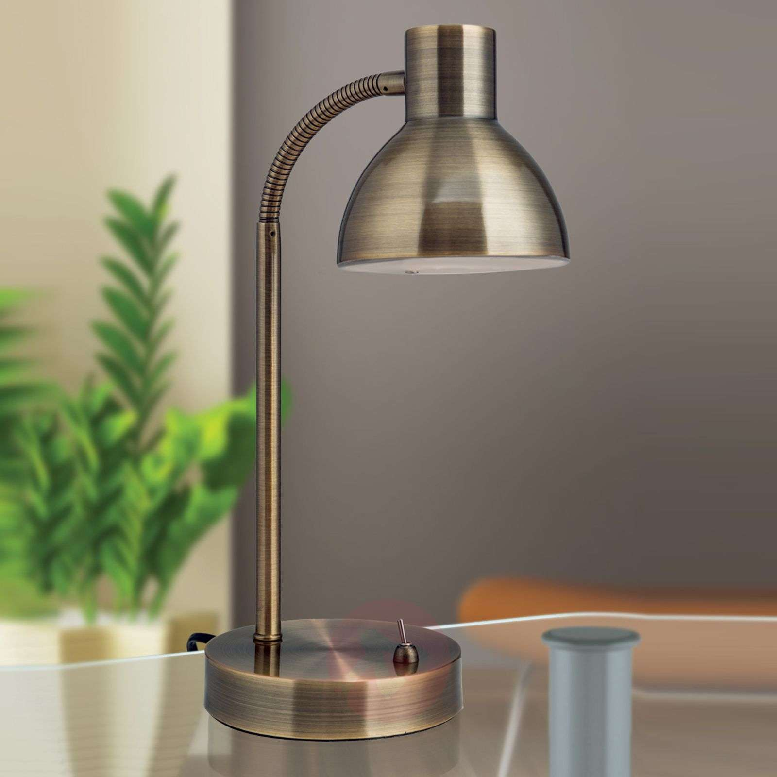 Classical LED desk lamp Isra antique brass-7255046-01