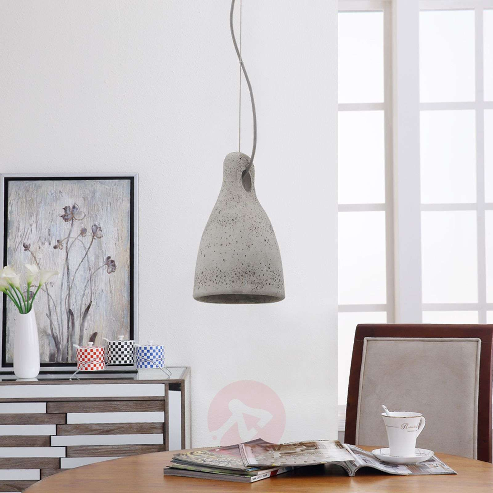 Concrete pendant light Lenna in grey-9620680-01