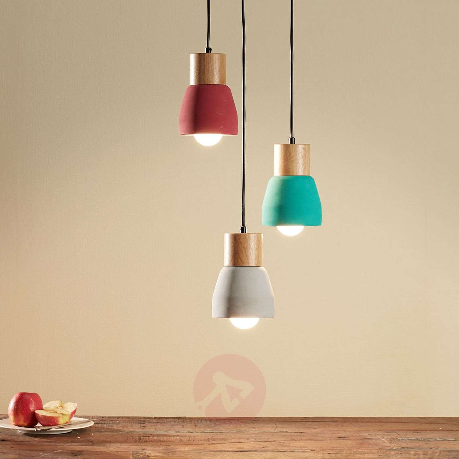 Concrete pendant light Margot with wood, 3-bulb-9984017-02