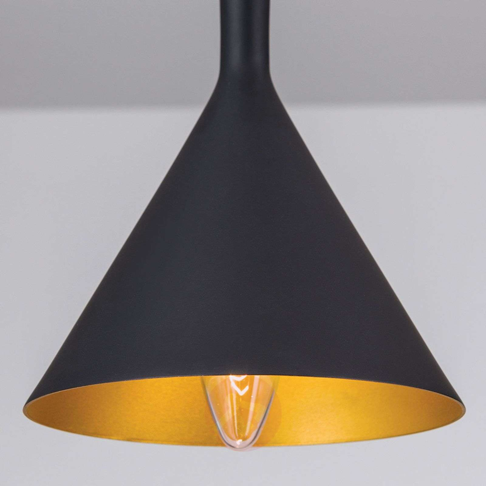 Cone-shaped hanging lamp Gunda in black and gold-7255356-01