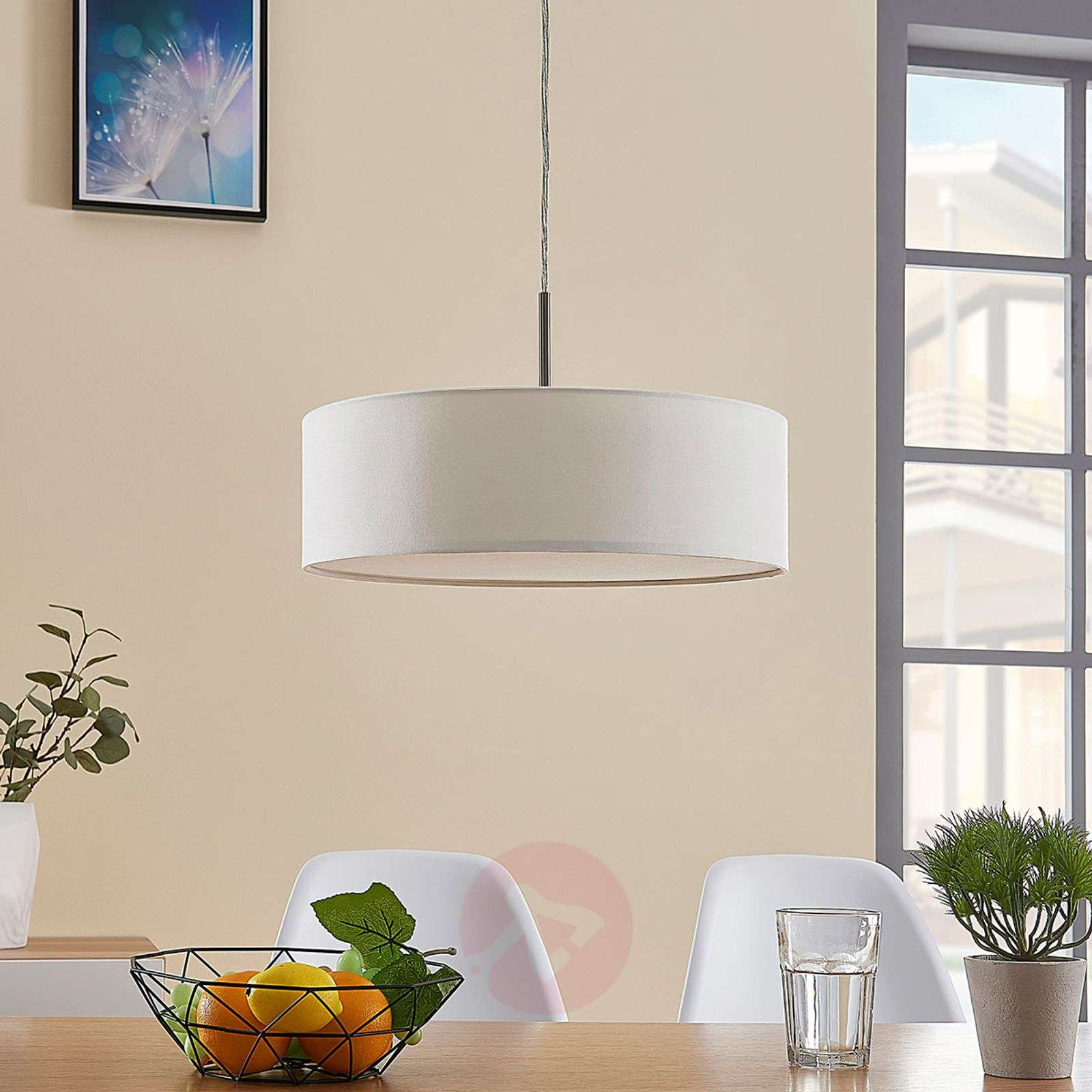 Cream-coloured fabric LED pendant light Sebatin-9620324-03