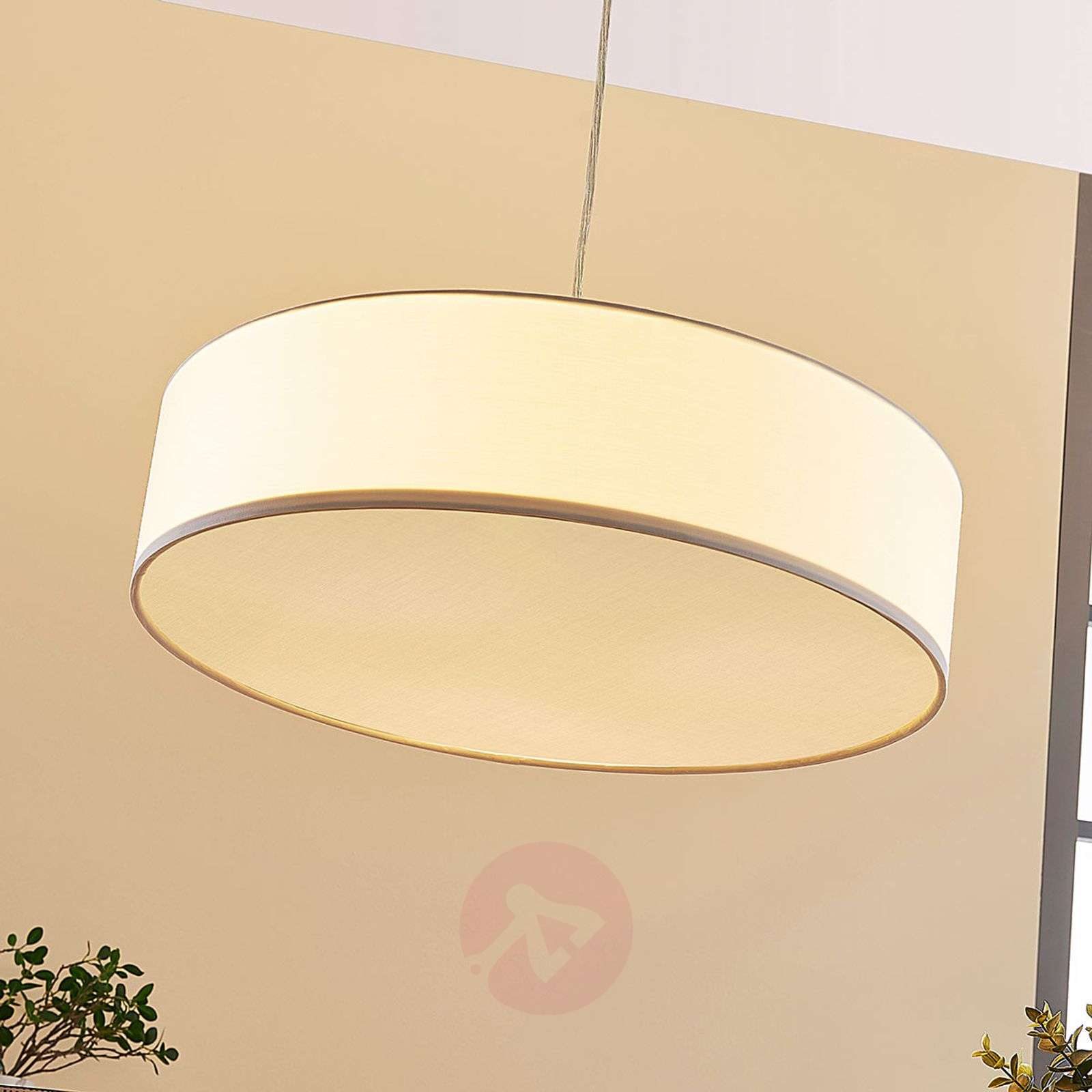 Cream-coloured Sebatin fabric LED pendant light-9620320-03