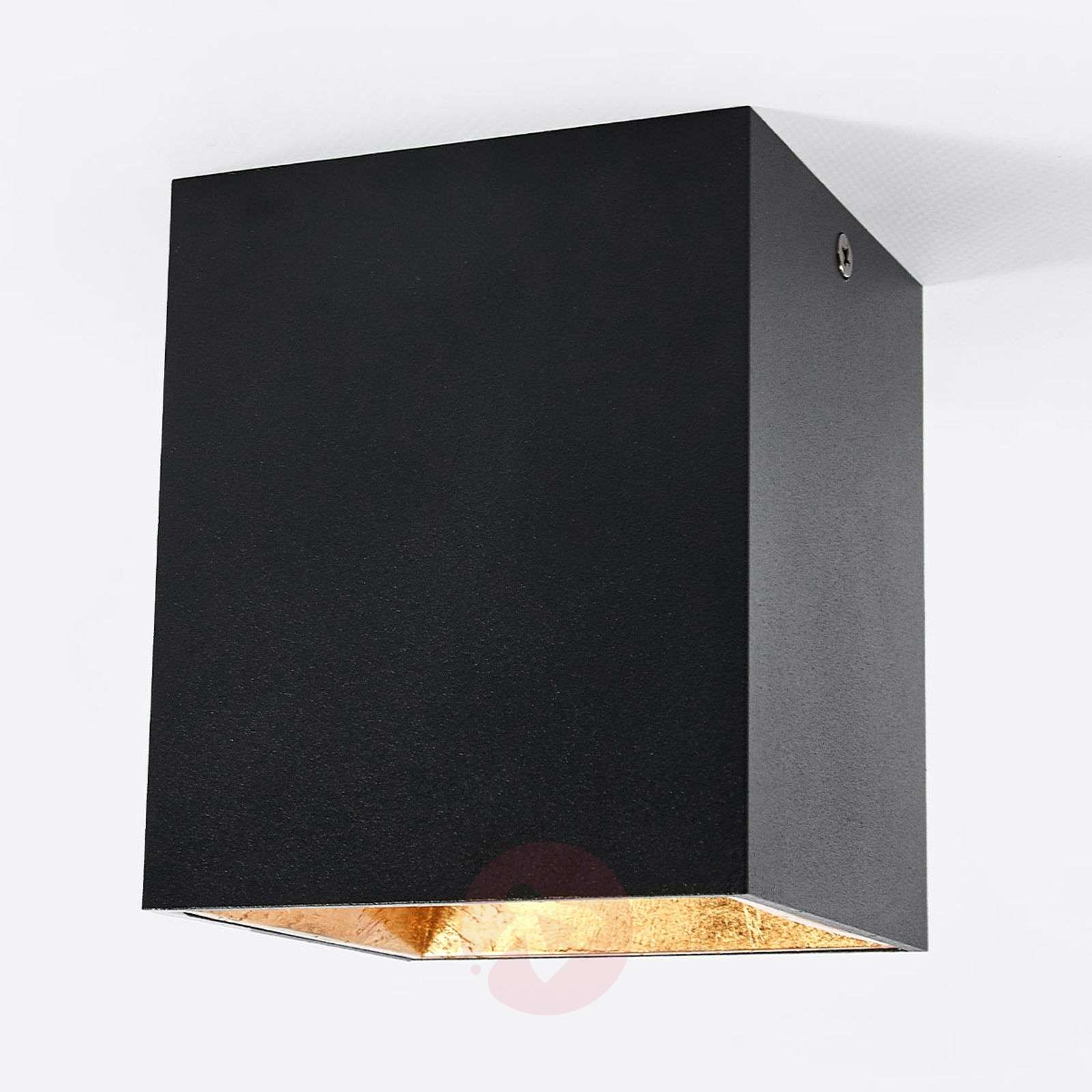 Cube-shaped LED ceiling light Juma, black and gold-3035009-02