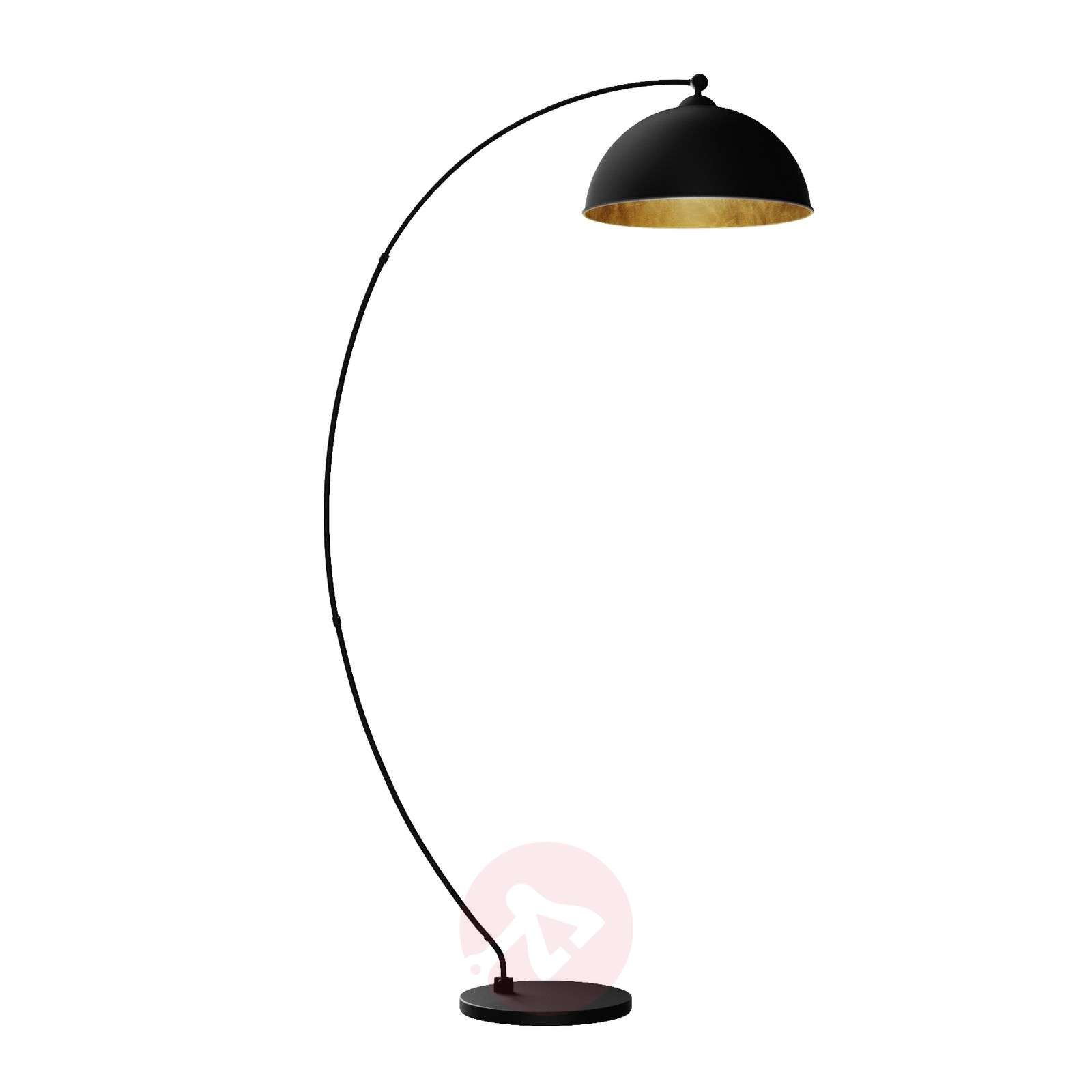 Curved floor lamp Jonera, black and gold-9621154-02