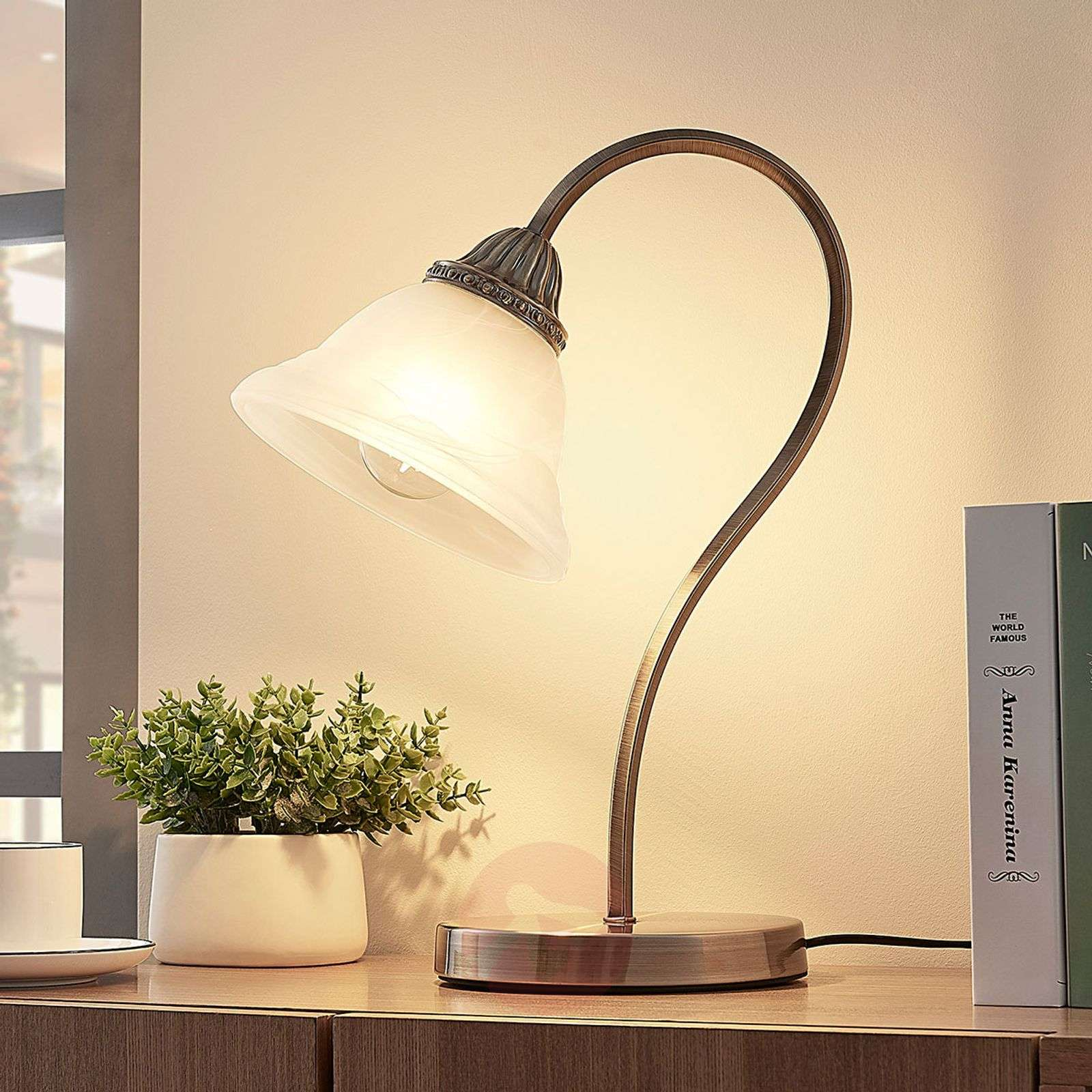 Curved table lamp Mialina with an E27 LED-9620341-016