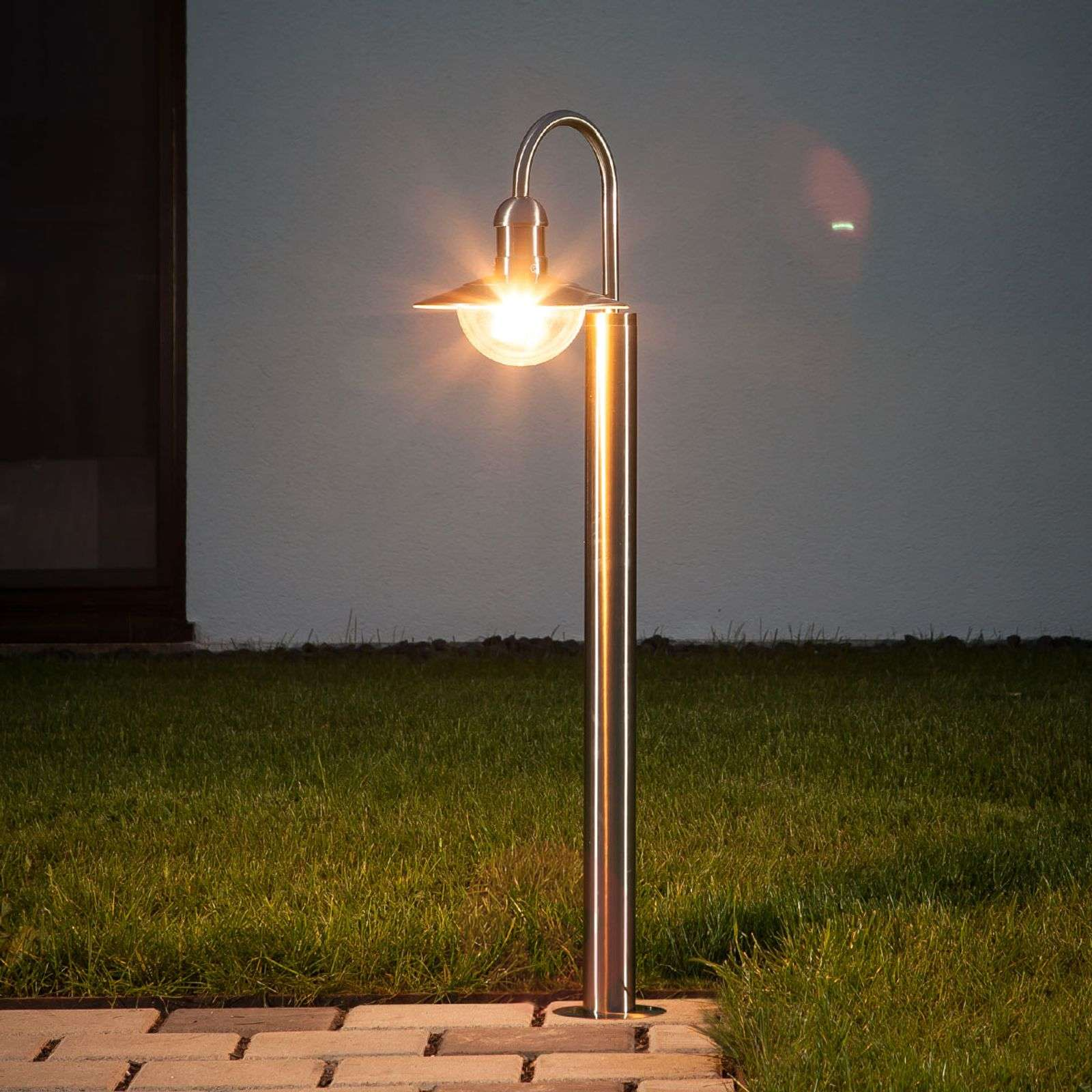 Damion Curved Stainless Steel Path Lamp-9960018-01