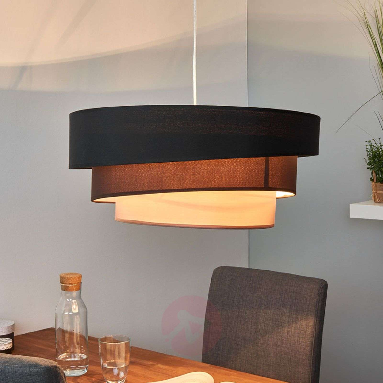 Dark pendant lamp Melia in black and brown-9639032-02