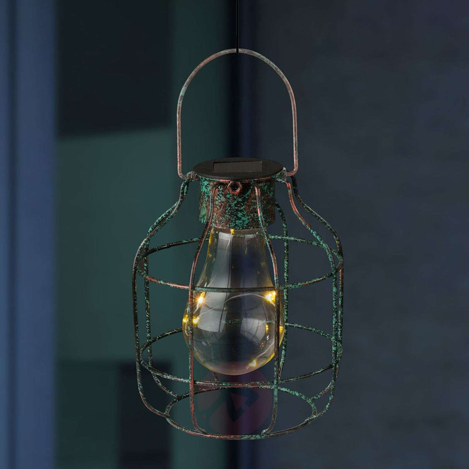 Decorative LED solar light Cage in a vintage look-4015028-01