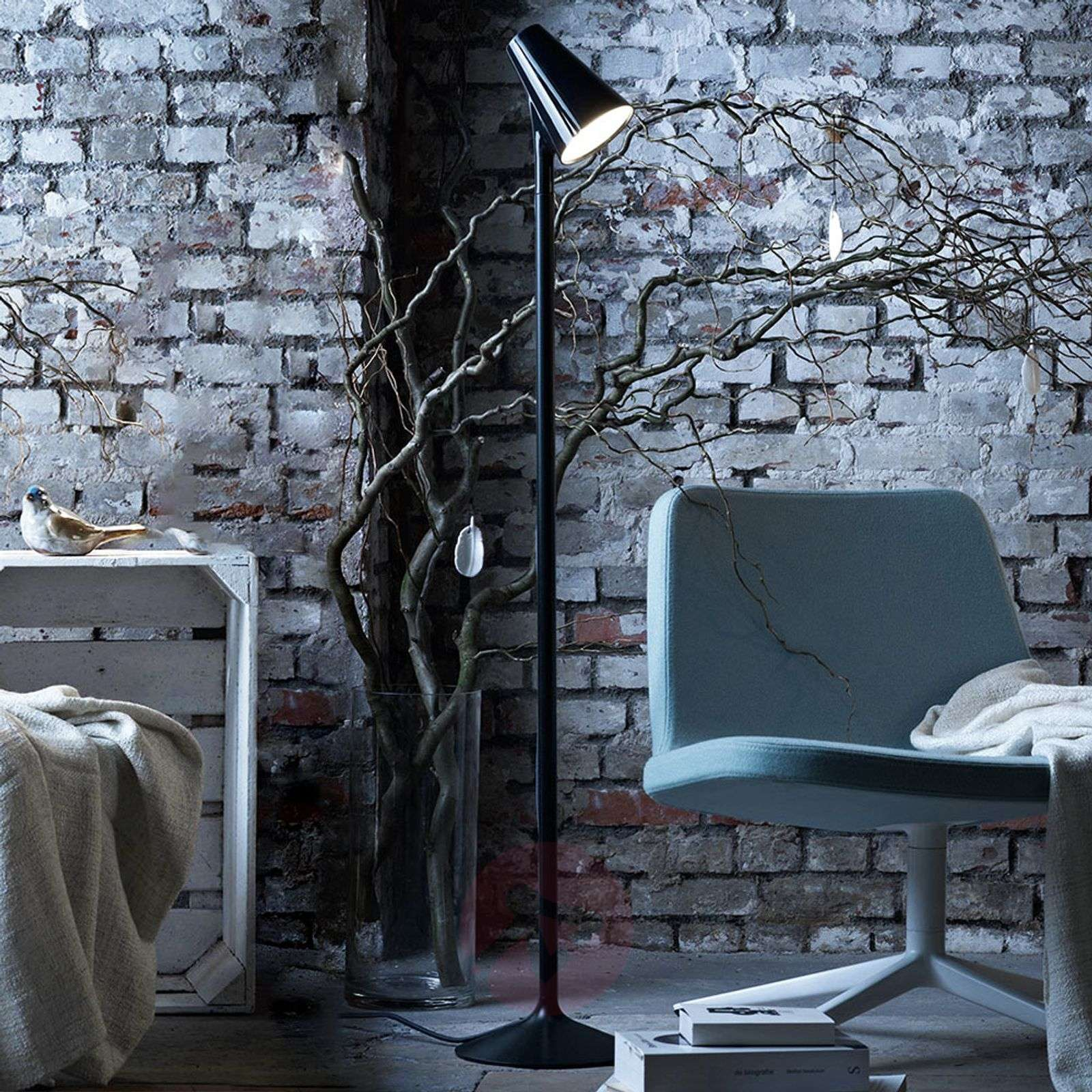 Designer floor lamp Piculet with LEDs, black-6082006-01