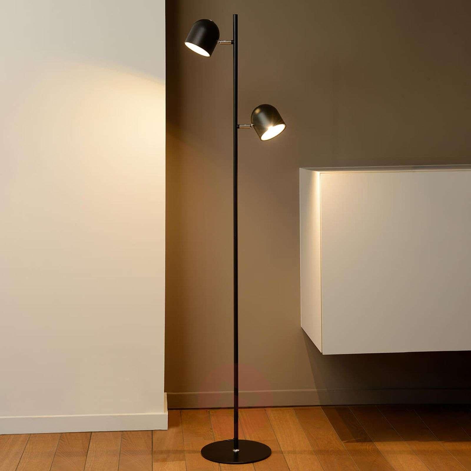 Dimmable LED floor lamp Skanska in black-6055150-01