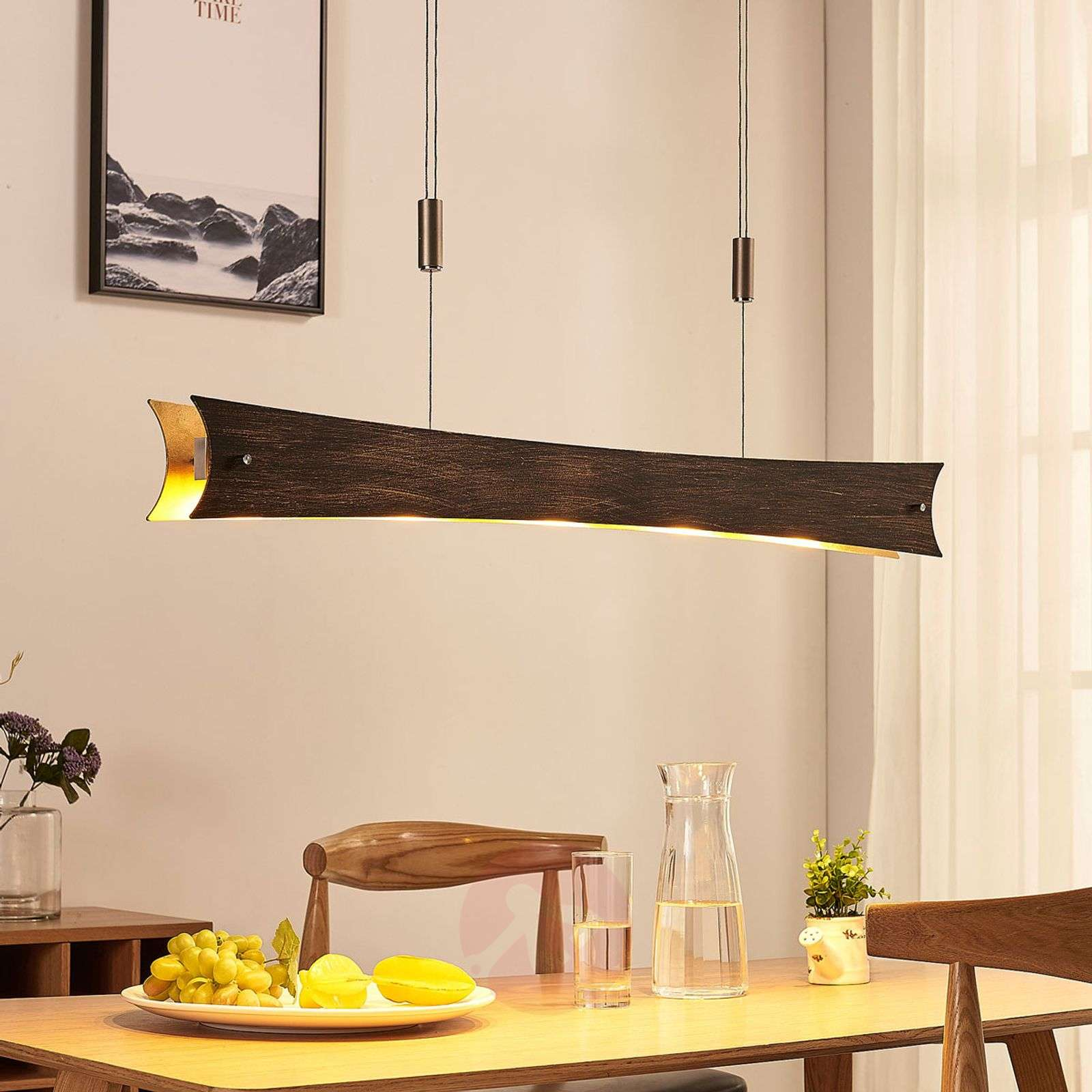 Dimmable LED hanging light Ebba, black-gold-9621389-02