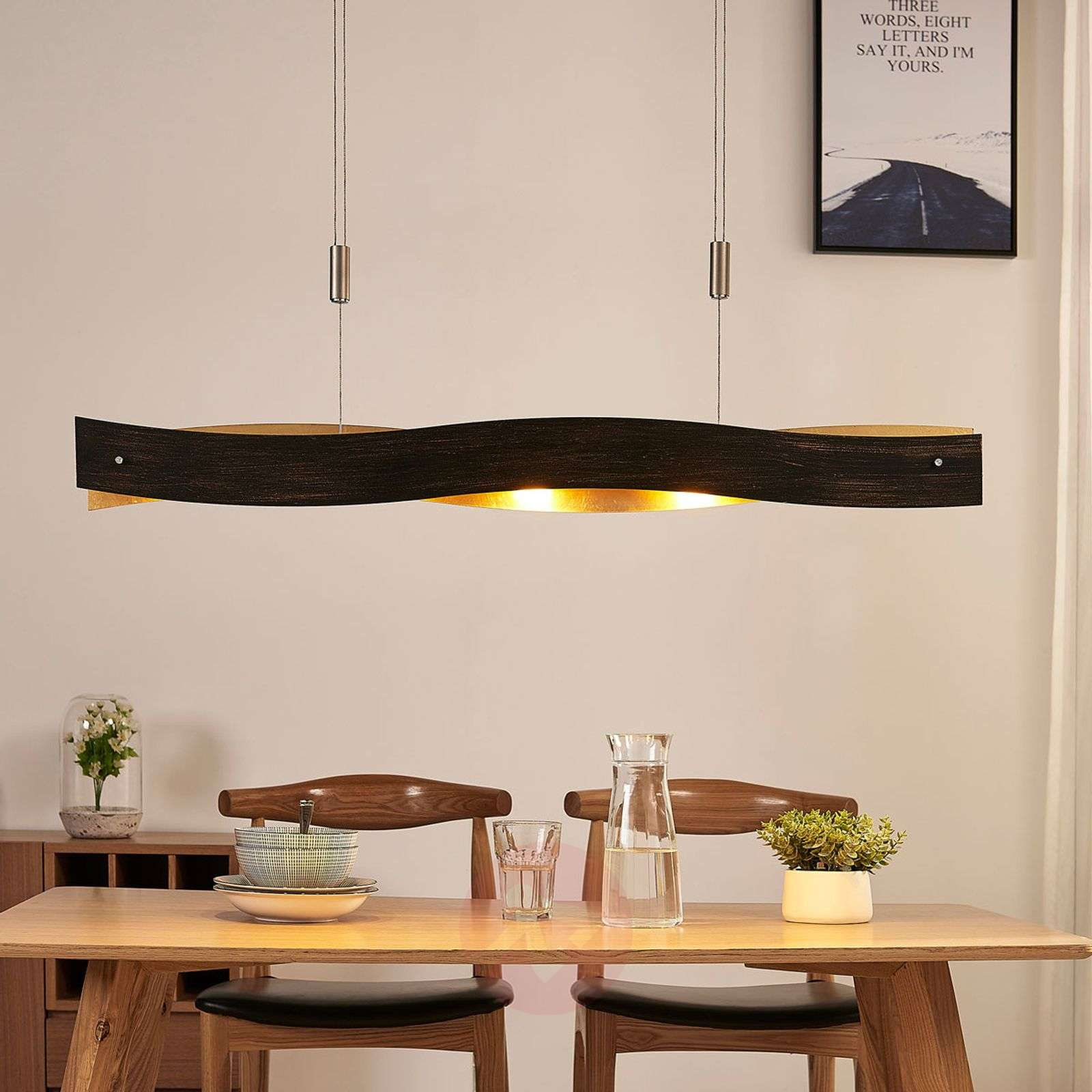 Dimmable LED hanging light Ebu, black-gold-9621393-02
