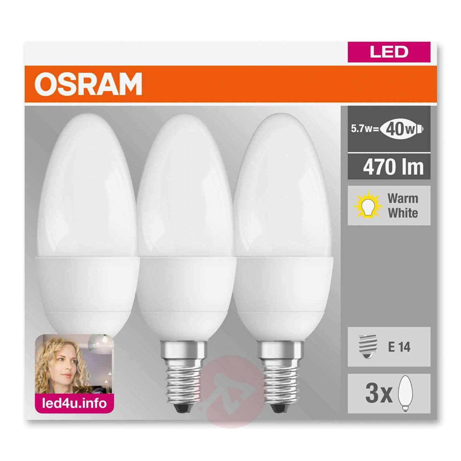 E27 5.3 W 827 LED candle bulb, set of three, matt-7260976-01