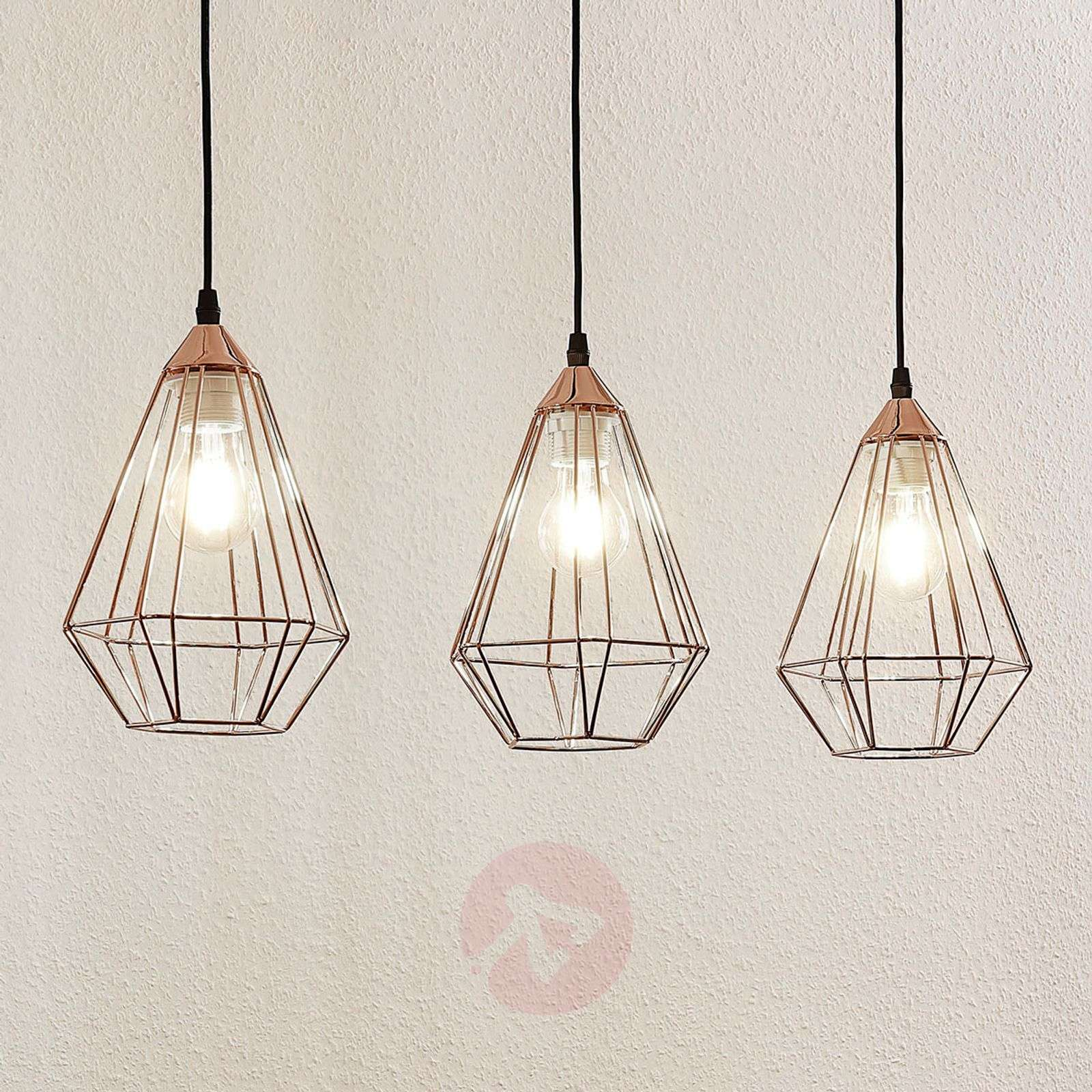 Elda pendant light with cages linear copper