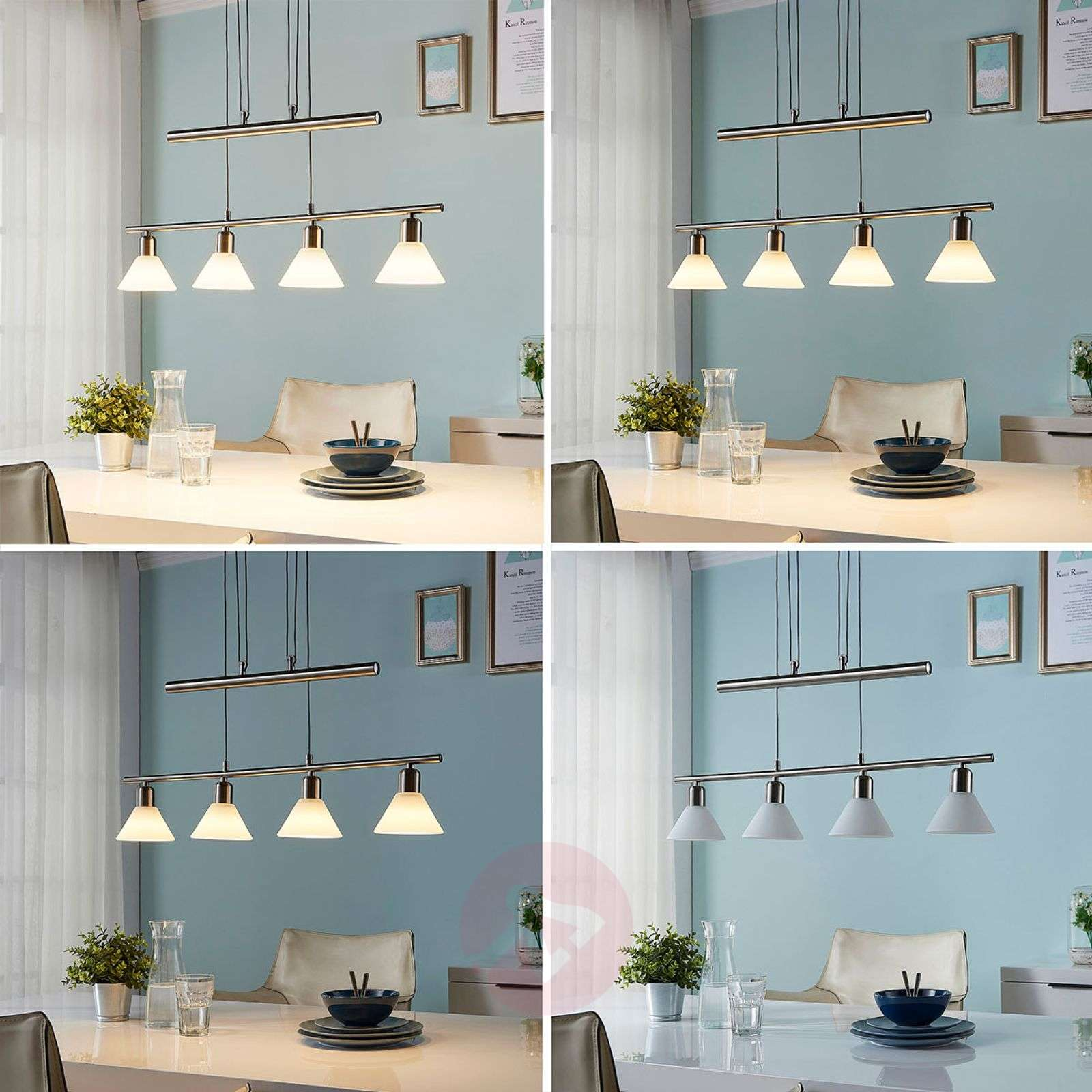 Eleasa easydim LED hanging light, 4-bulb, nickel-9621386-02