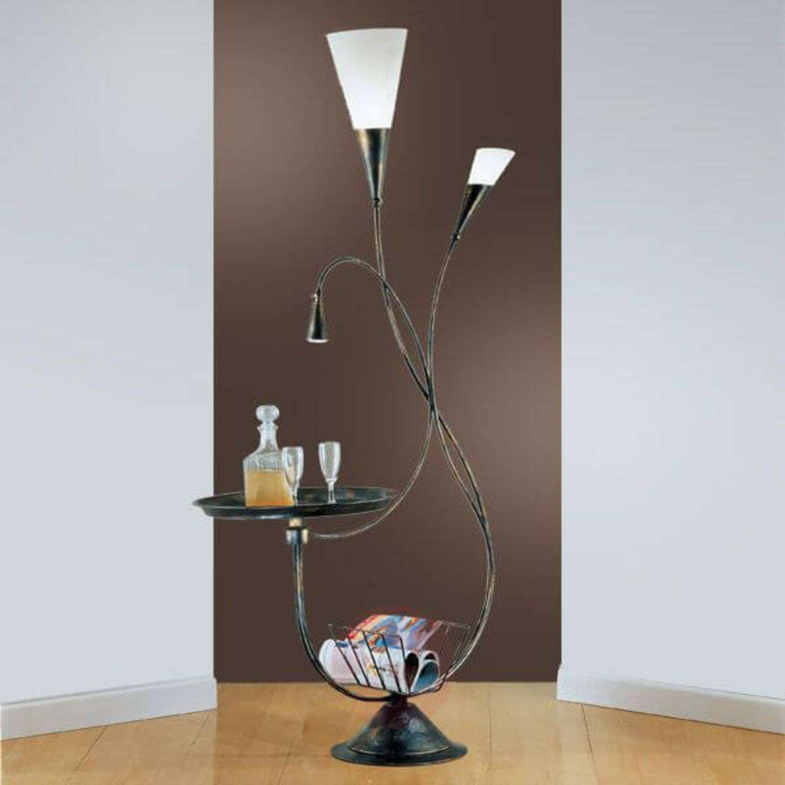 Elegant floor lamp MARRON with storage rack-5505034-02