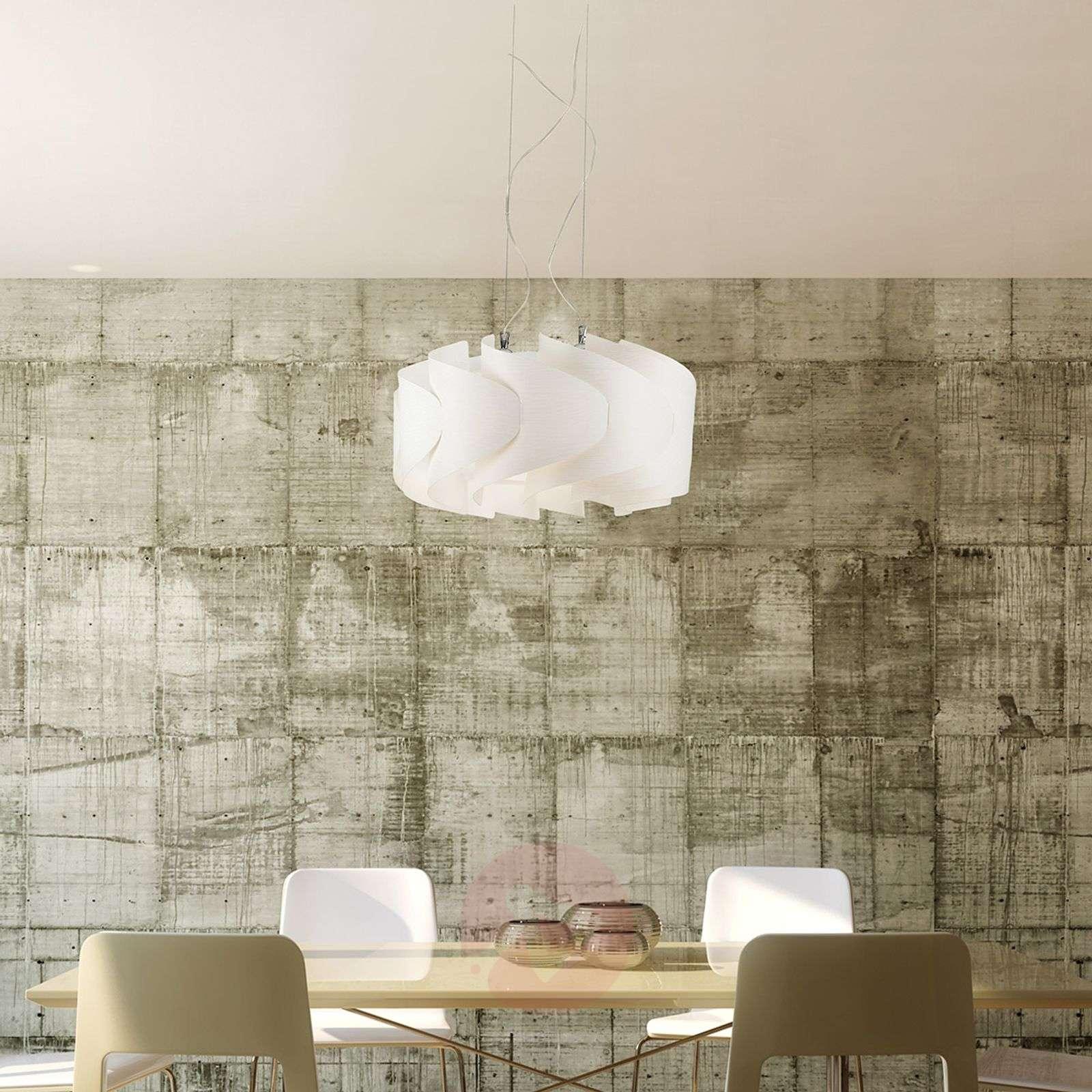 Elegant hanging light Ellix, white wooden finish-1056079-01
