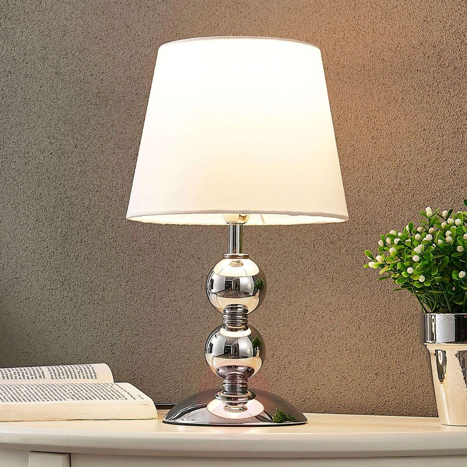 Elegant LED table lamp Minna with a satin look-9621255-02