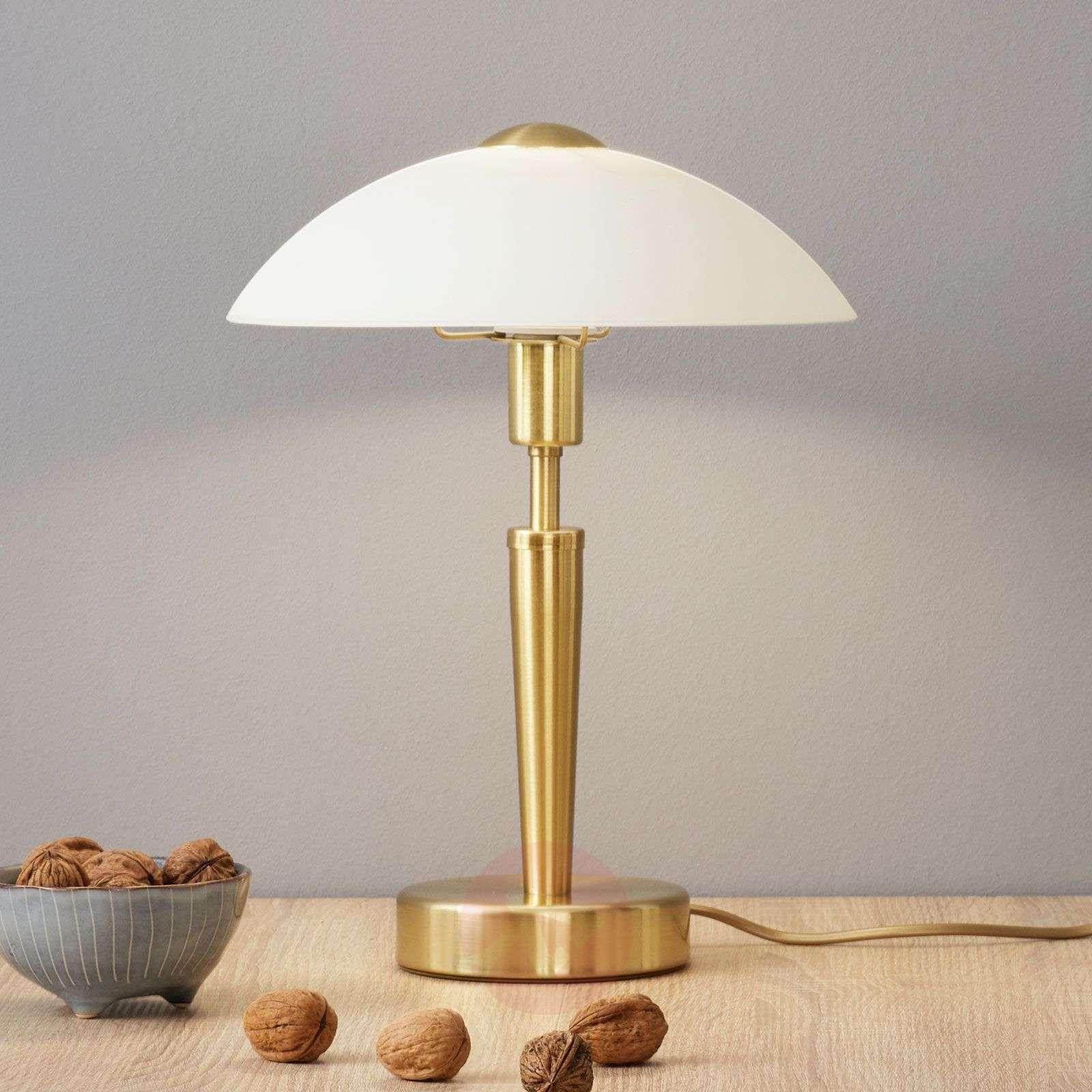 Elegant table lamp Salut, brass, white-3001575-01