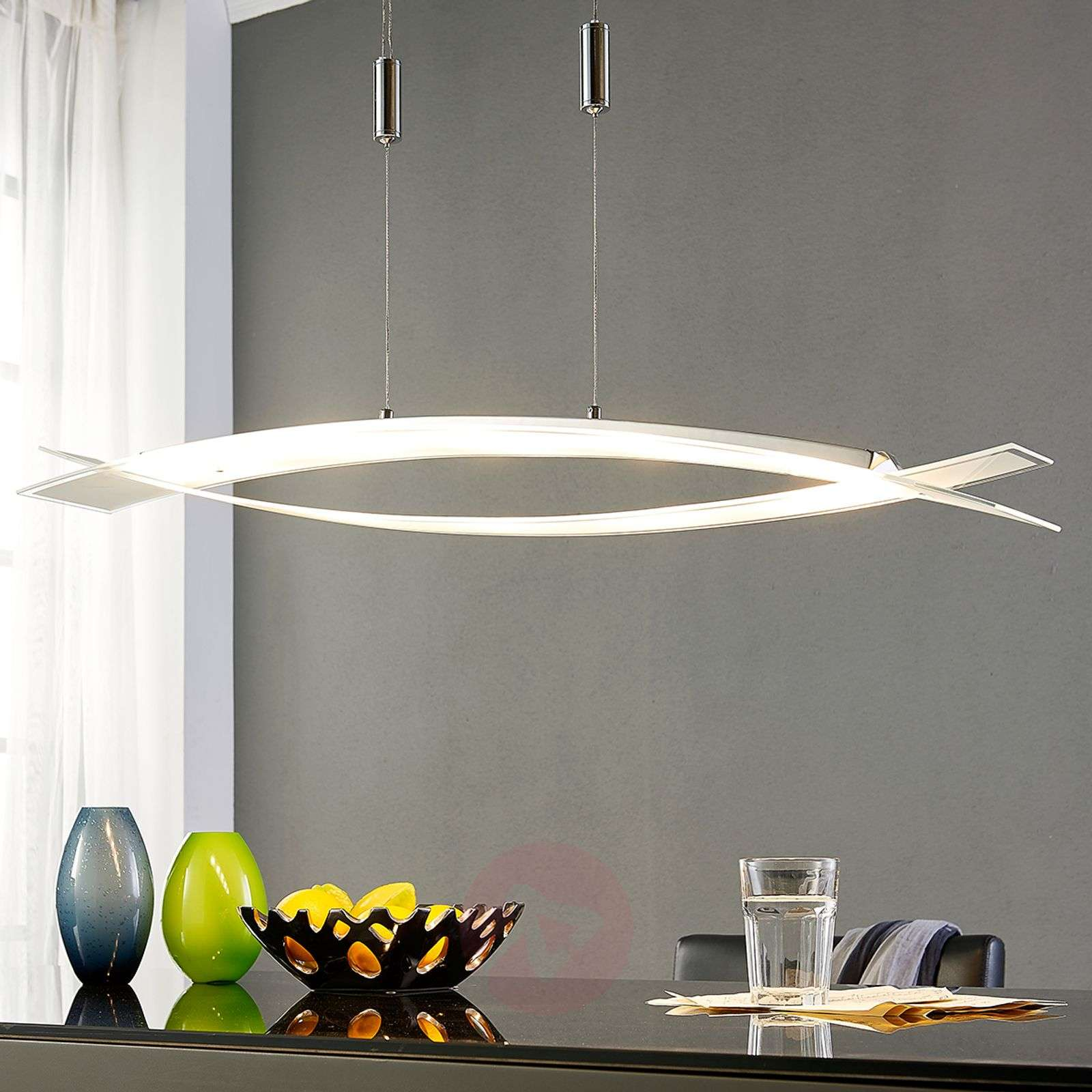 Elina LED hanging lamp, frosted glass lampshade-9620822-010
