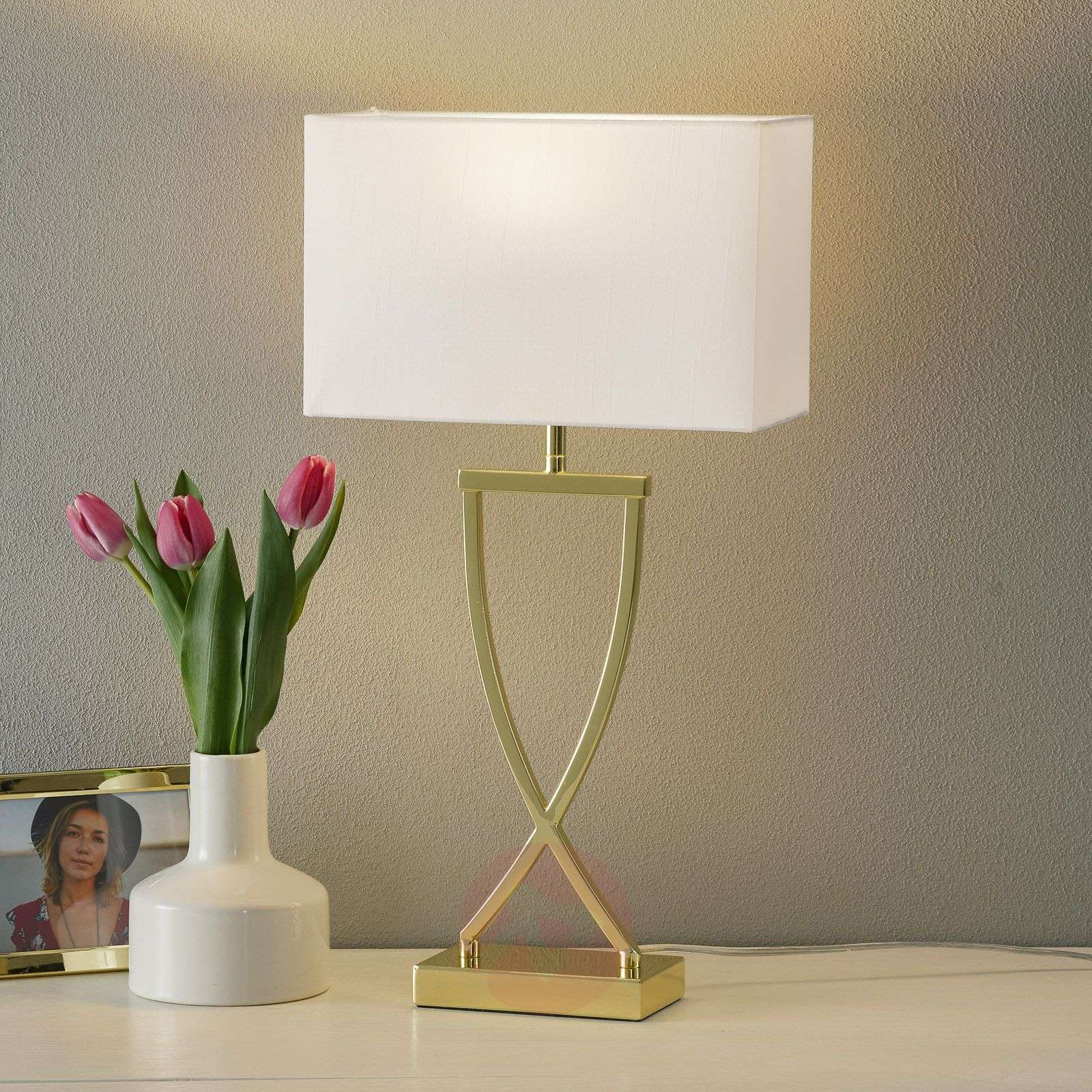 Enchanting fabric table lamp Anni brass-white-4581010-01
