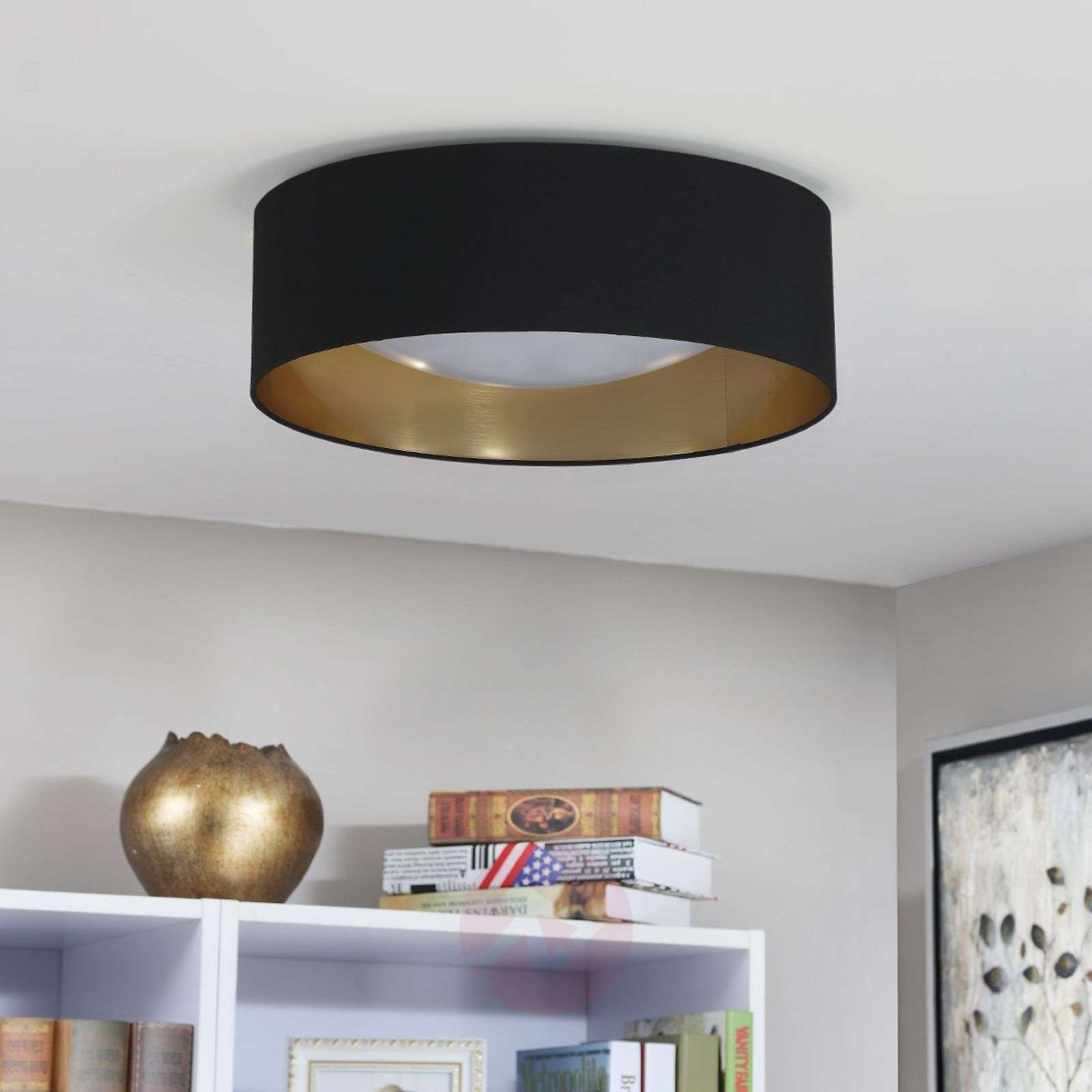 Fabric ceiling lamp Coleen in black, gold inside-9620640-01