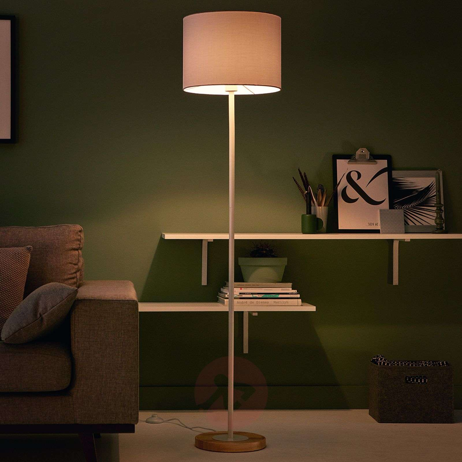 Fabric limba floor lamp with wooden base lights fabric floor lamp limba with a wooden base 7531689 01 aloadofball Images