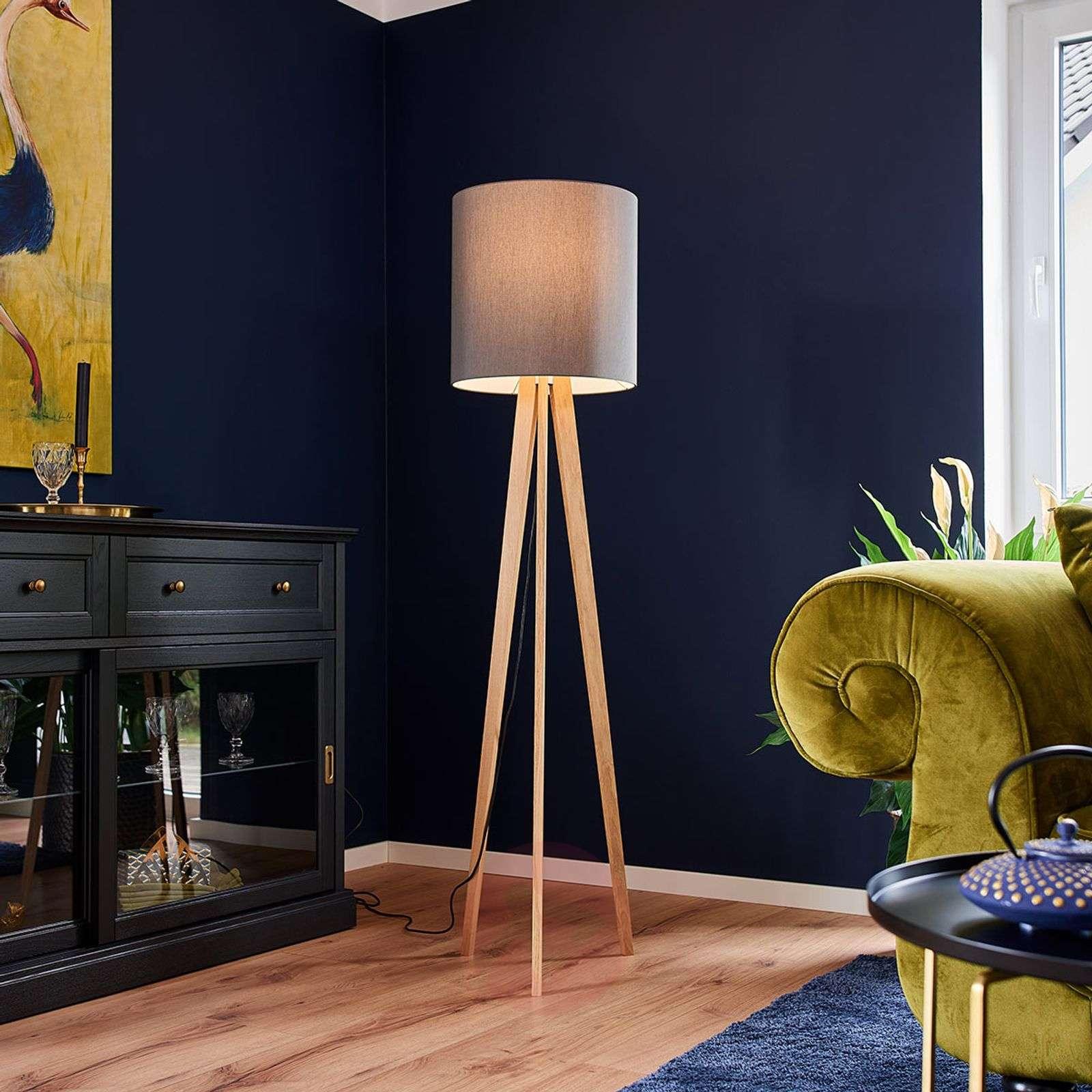 Fabric floor lamp Nida, wooden frame, graphite-6722445-01