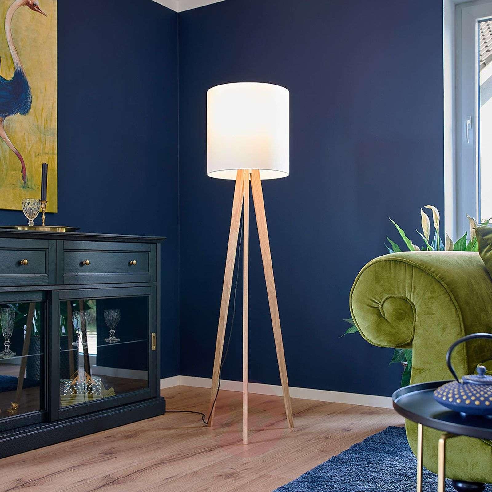 Fabric floor lamp Nida, wooden frame, white-6722443-01