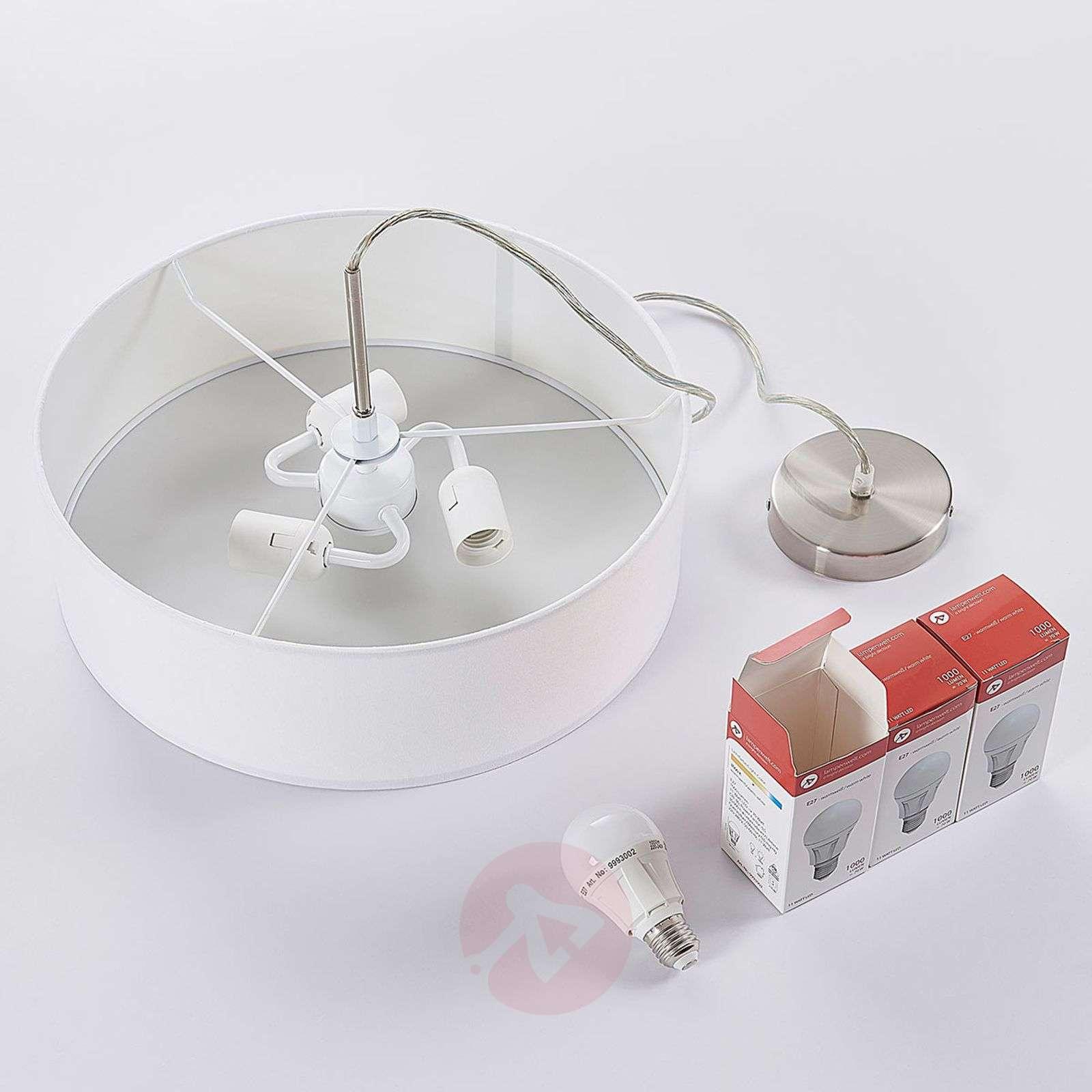 Fabric pendant light Sebatin in white-9620325-02