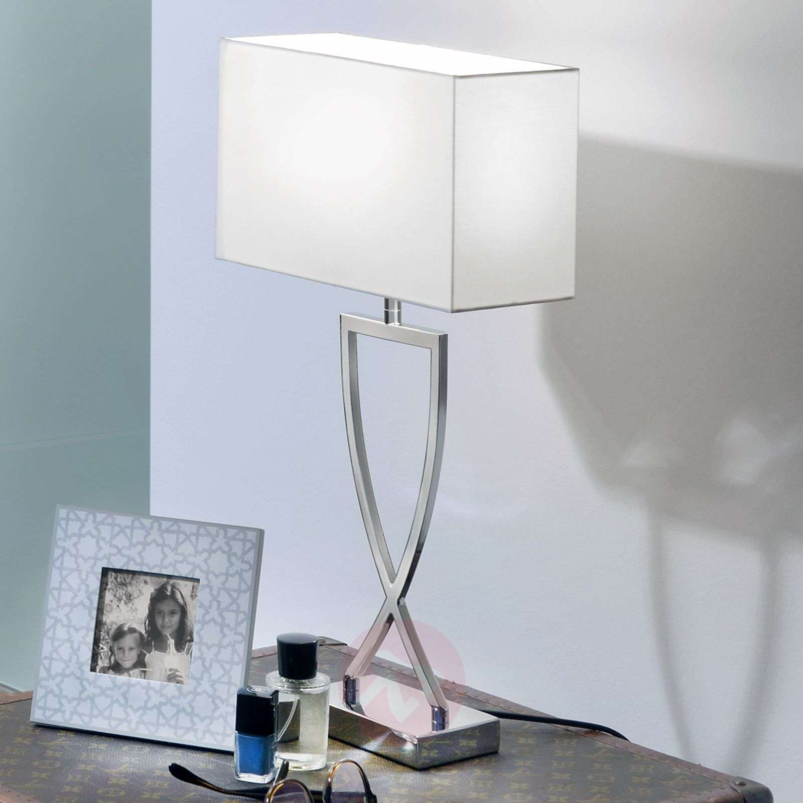 Fabric shade table lamp Toulouse, 68.5cm tall-8507592-01