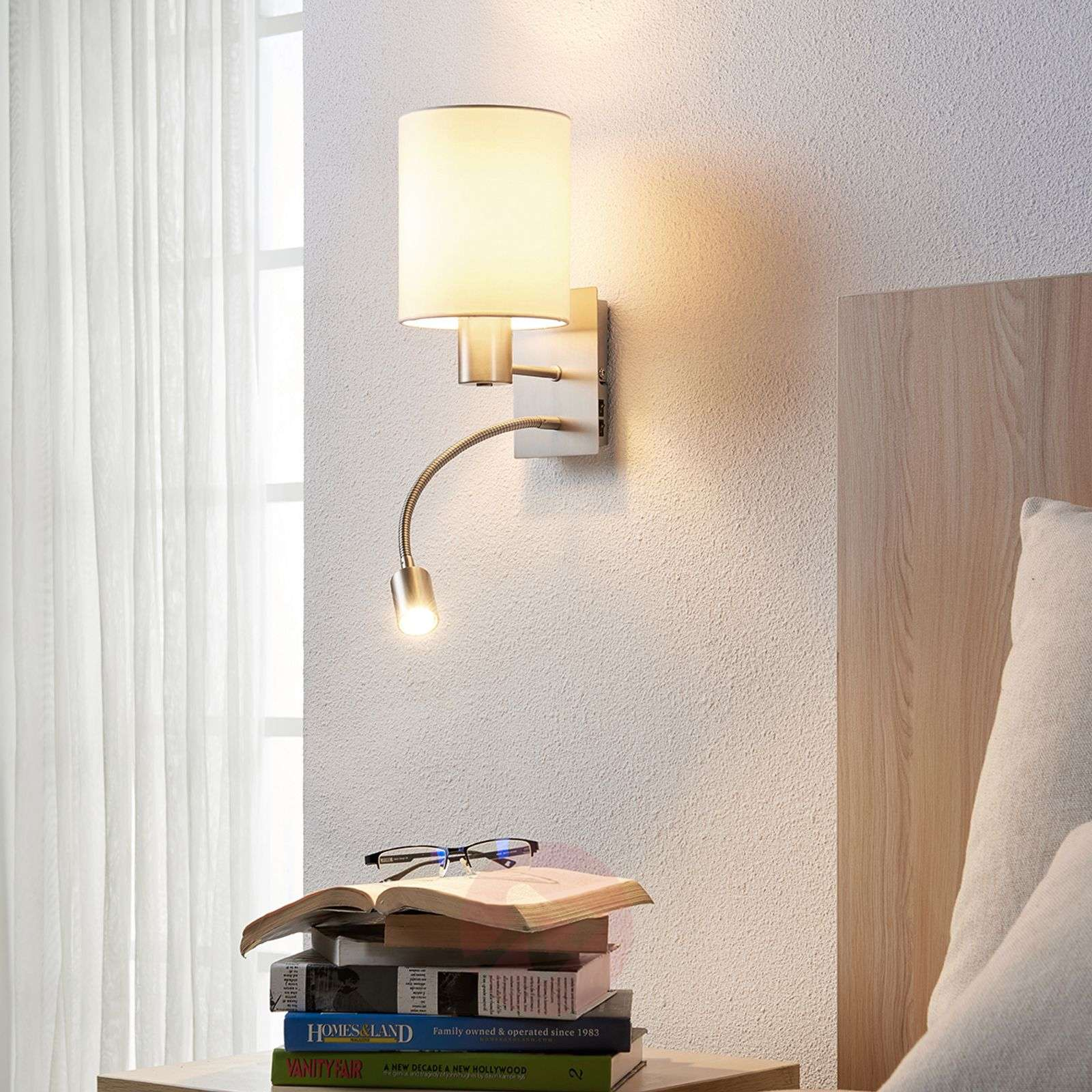 Fabric wall lamp Shajan with LED reading light-9620920-01