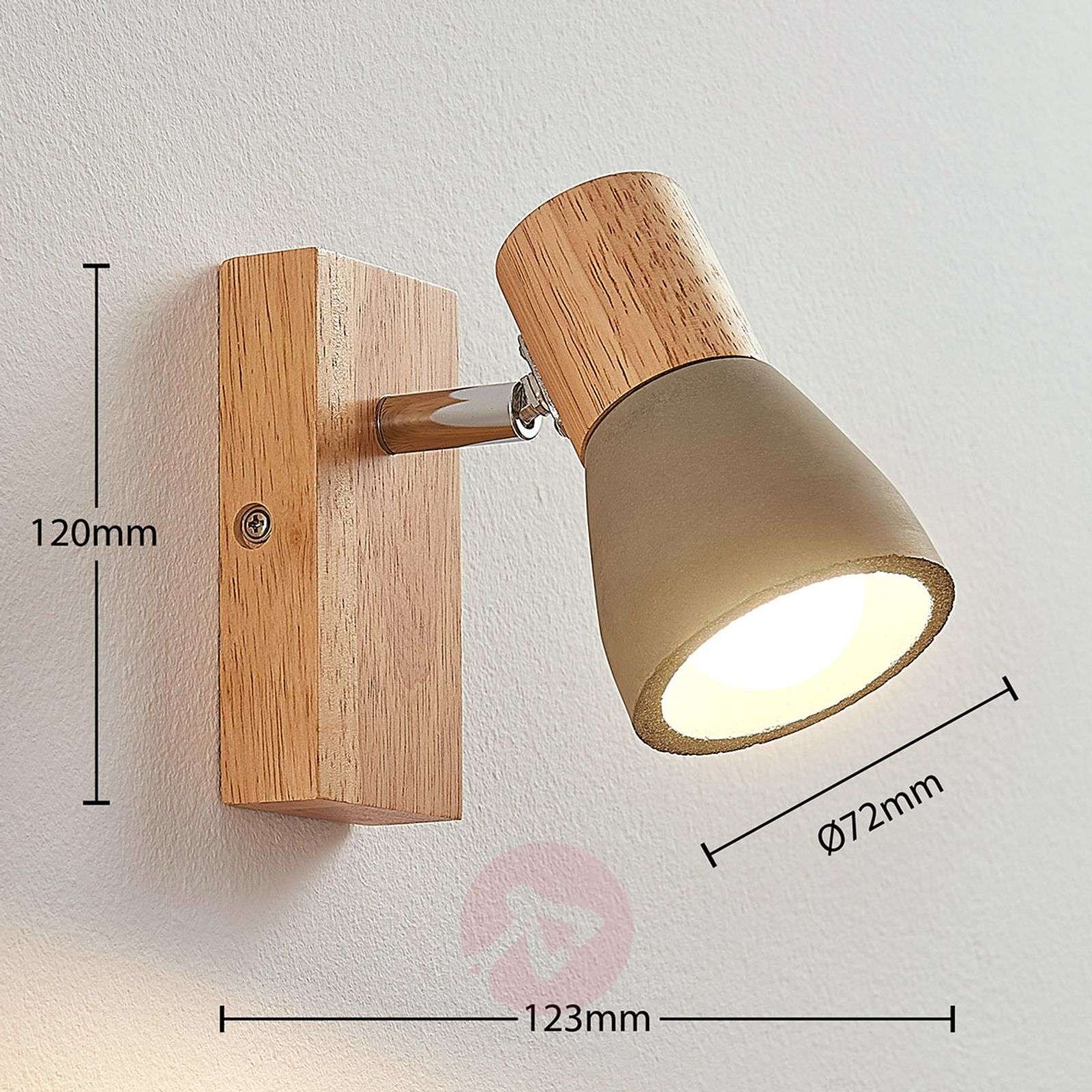 Filiz LED spotlight made of wood and concrete-9621836-01