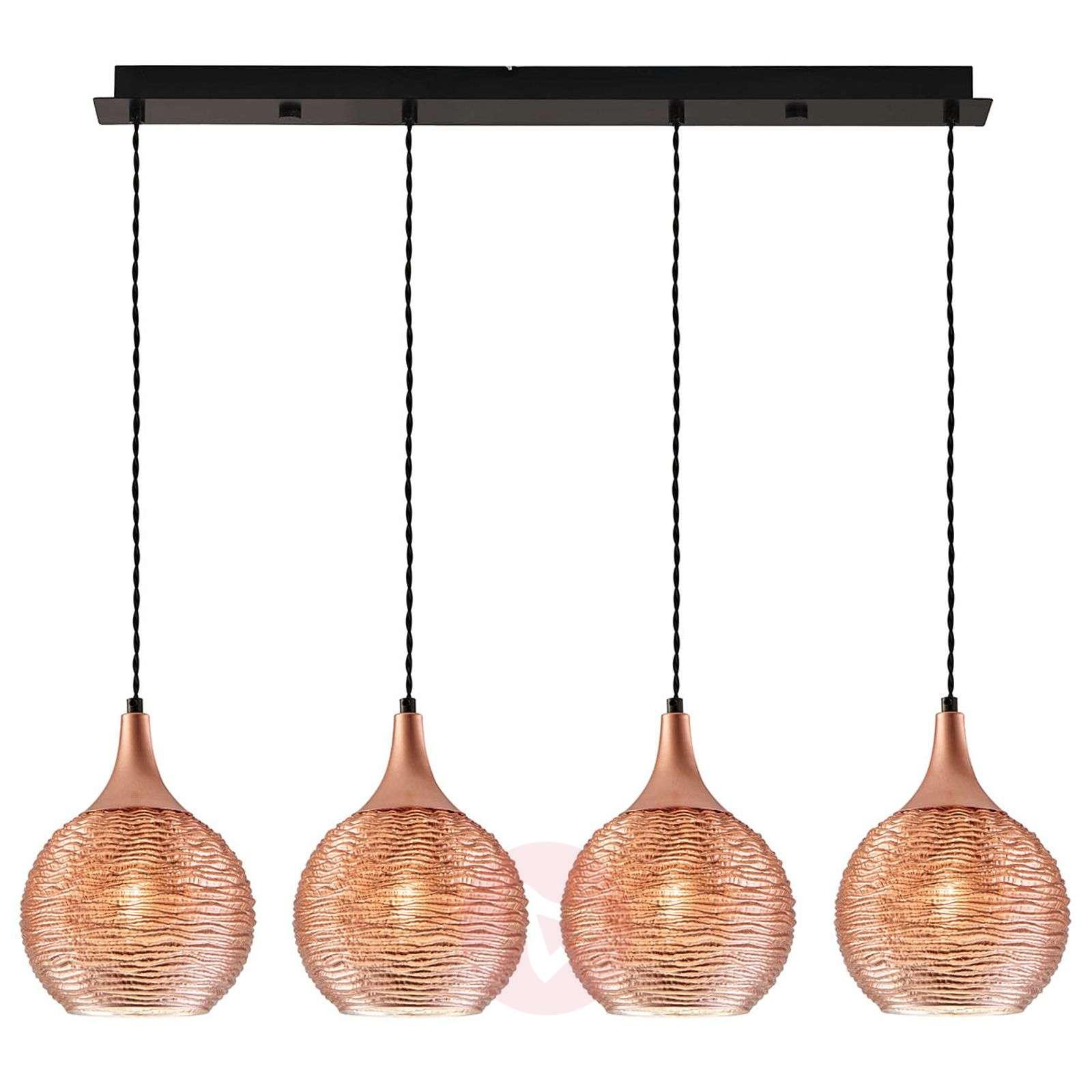 Fiona linear pendant light in copper, 4-bulb-9514300-01