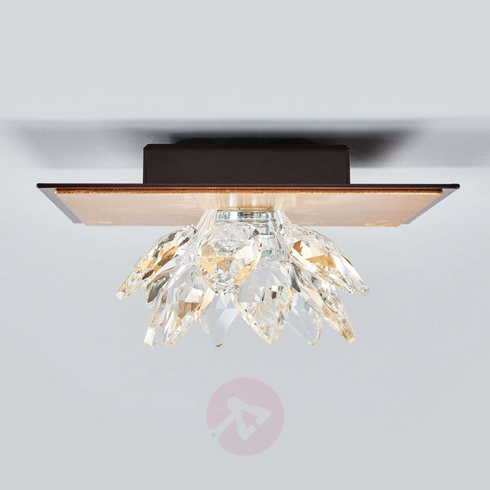 Fiore ceiling light, gold leaf and crystal, 1-bulb-5505542-01