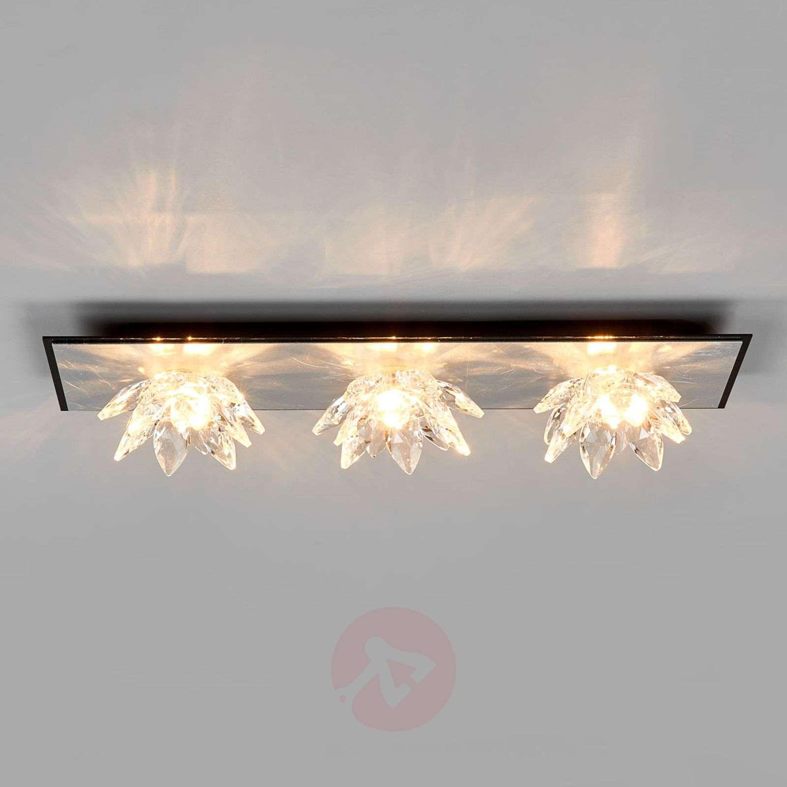 Fiore Cristallo, silver leaf ceiling light, 3-bulb-5505554-01