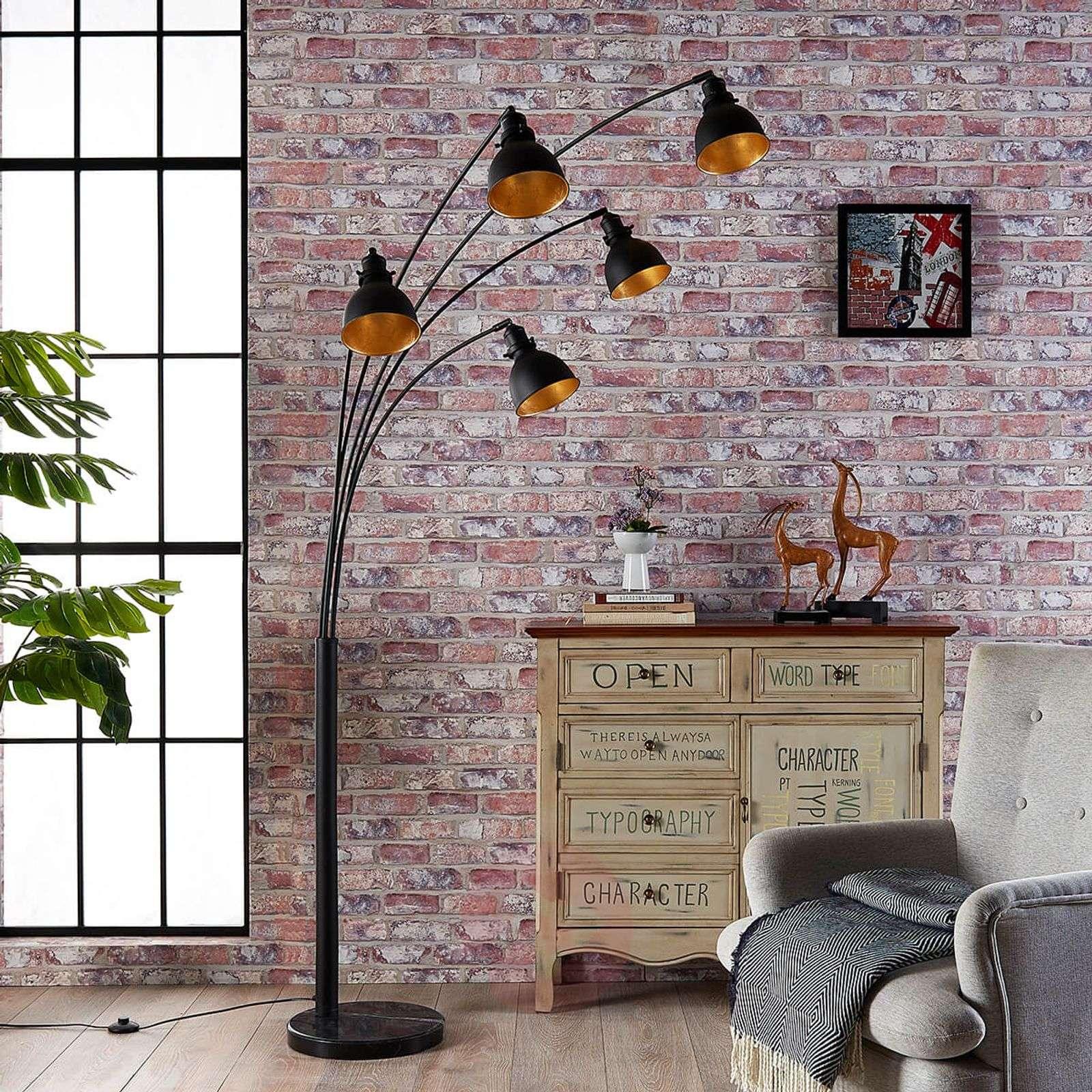 Five-bulb floor lamp Lira in black and gold-9621140-02