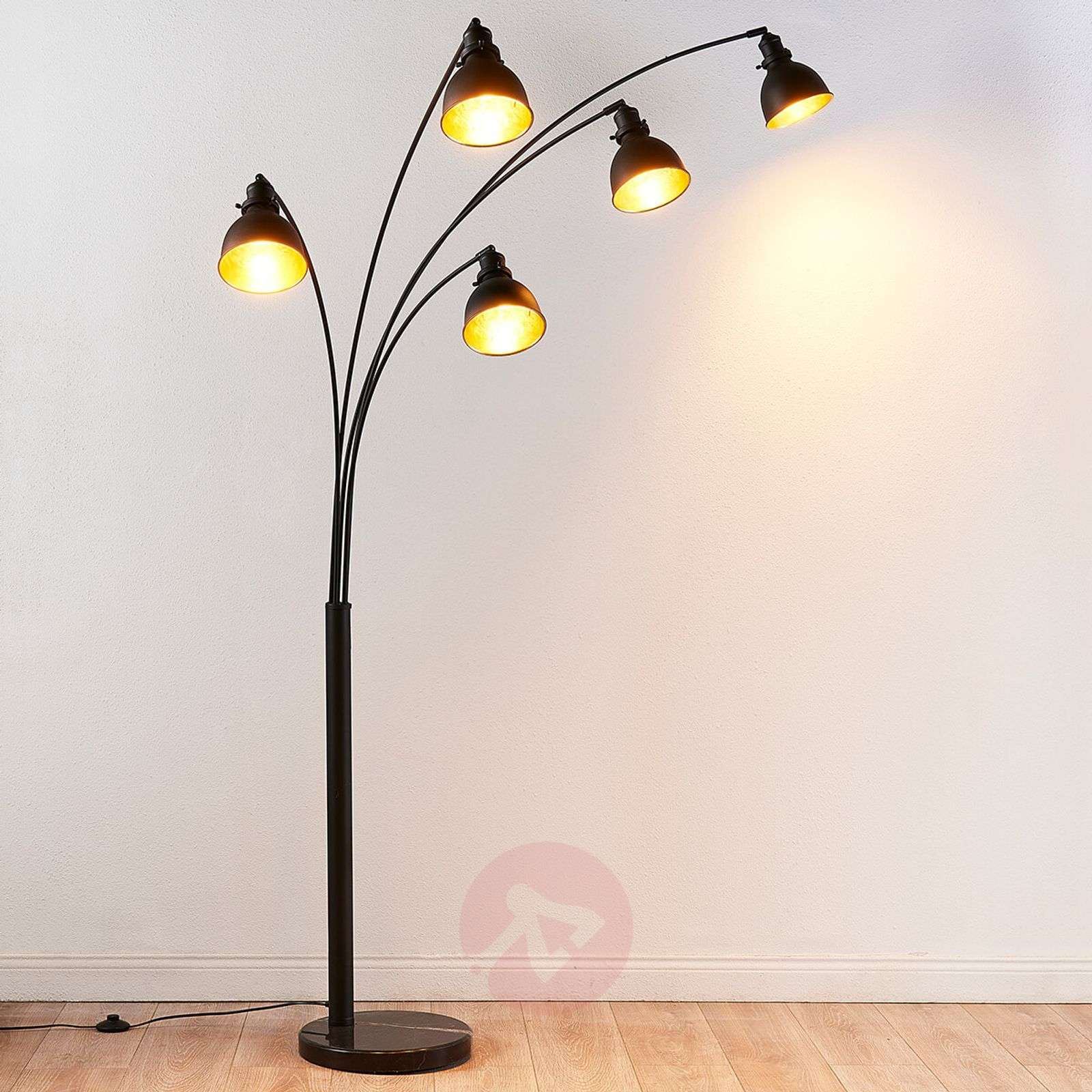 Five bulb floor lamp lira in black and gold 9621140 02