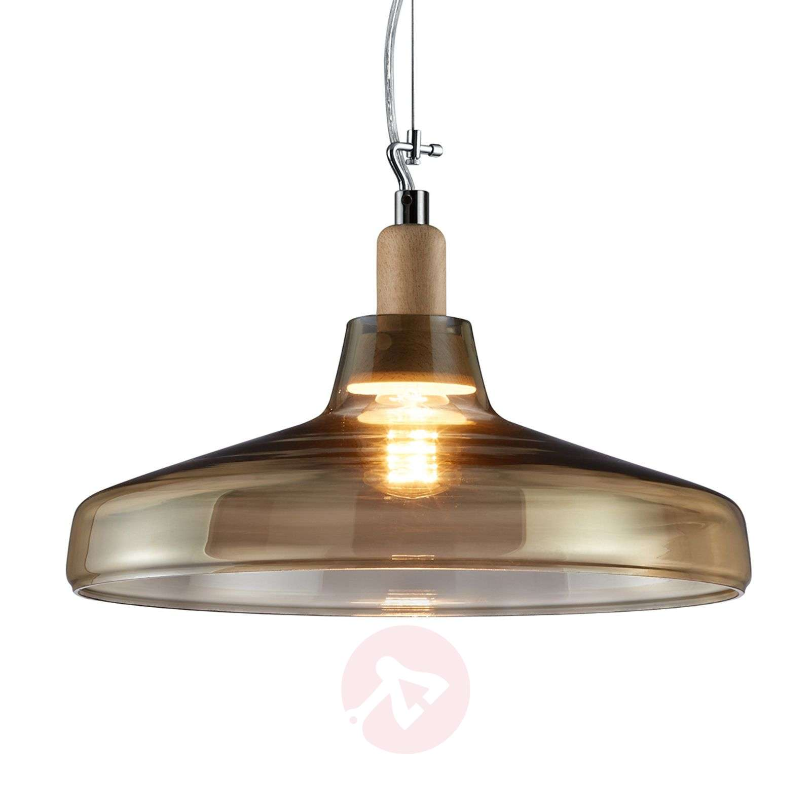 Flat Dover glass pendant light, champagne-coloured-9005105-01
