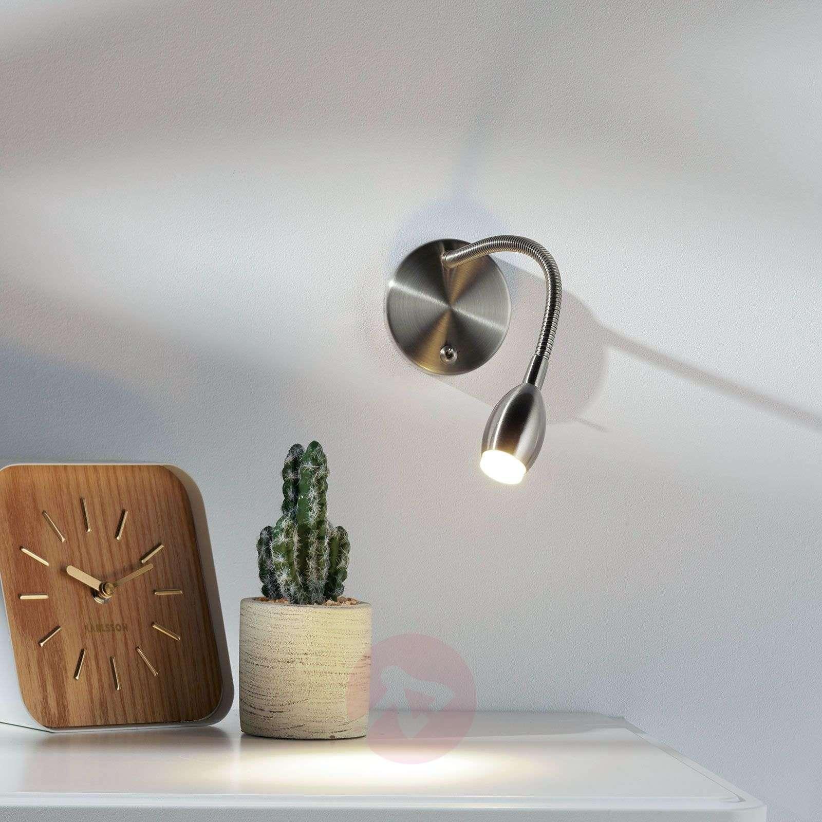 Flexi-arm wall light MARTA with LED, nickel-1050009-01
