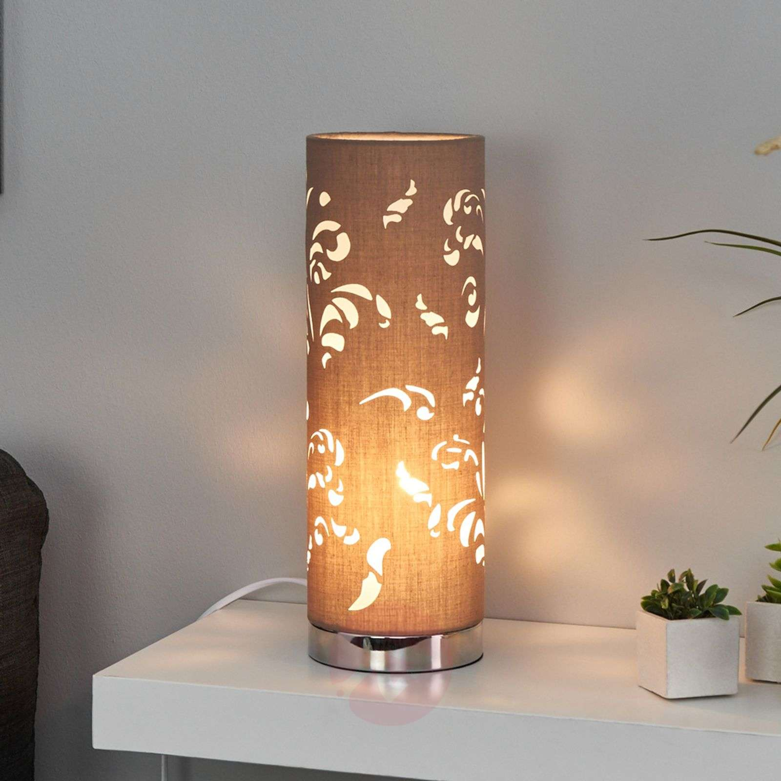 Flora enchanting table lamp cappuccino with décor-4581232-01